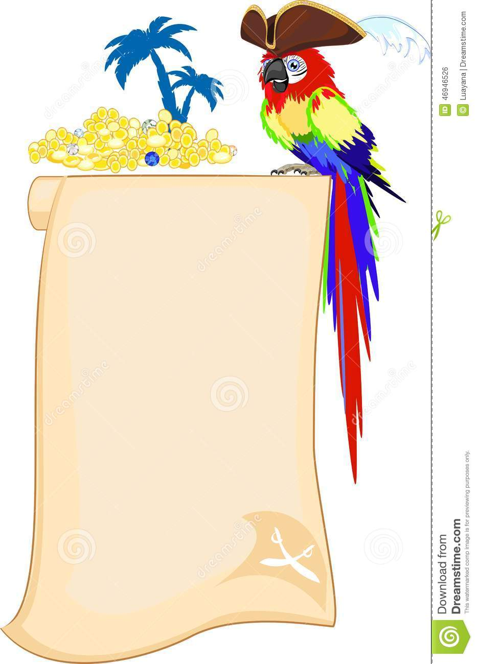 Pirate parrot and scroll stock vector image 46946526 for Pirate scroll template
