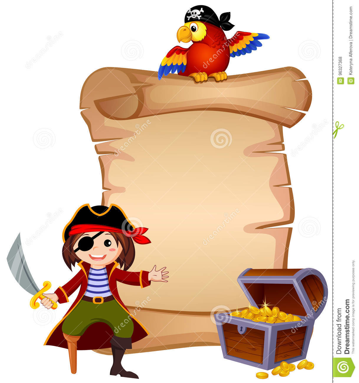 pirate parrot treasure chest and template letter stock vector