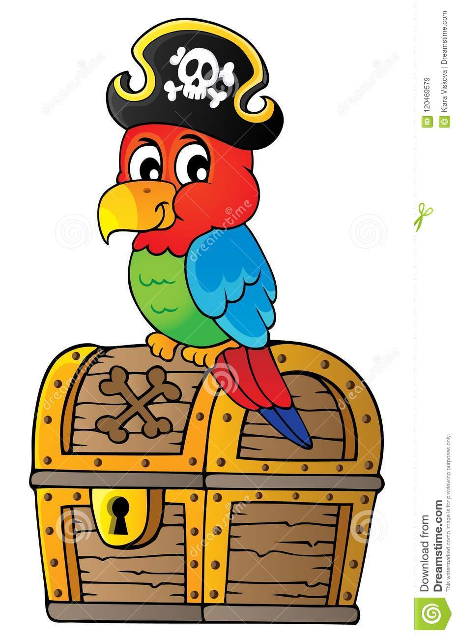 Pirate Parrot On Treasure Chest Topic 1 Stock Vector ...