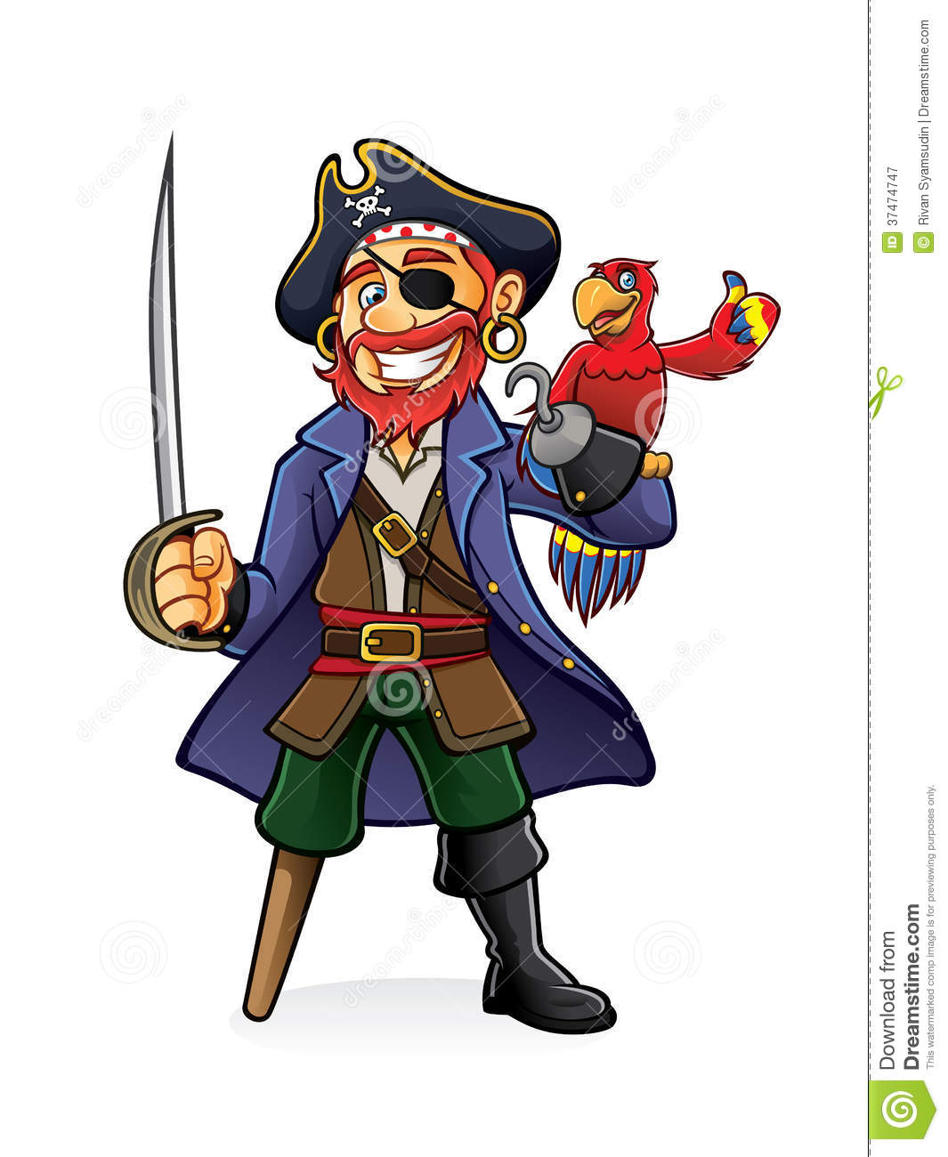 Pirate was standing holding a drawn sword with a parrot perched on ...