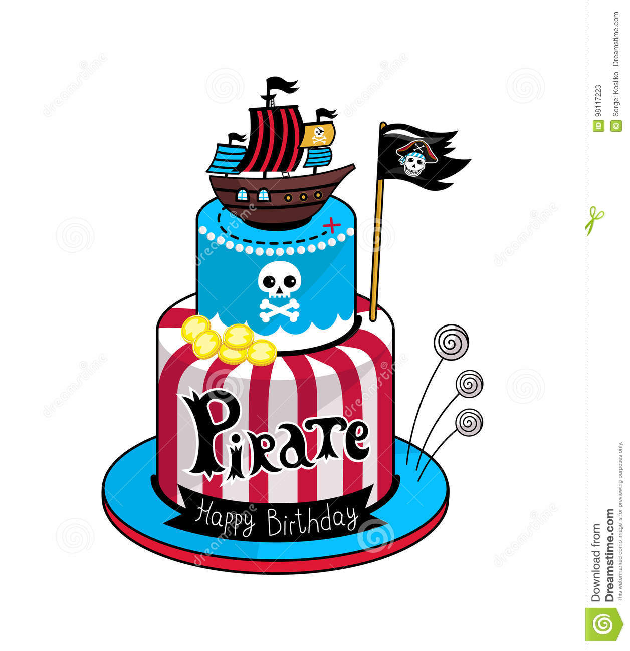 Magnificent Pirate Party Cake Vector Icon Stock Vector Illustration Of Birthday Cards Printable Inklcafe Filternl