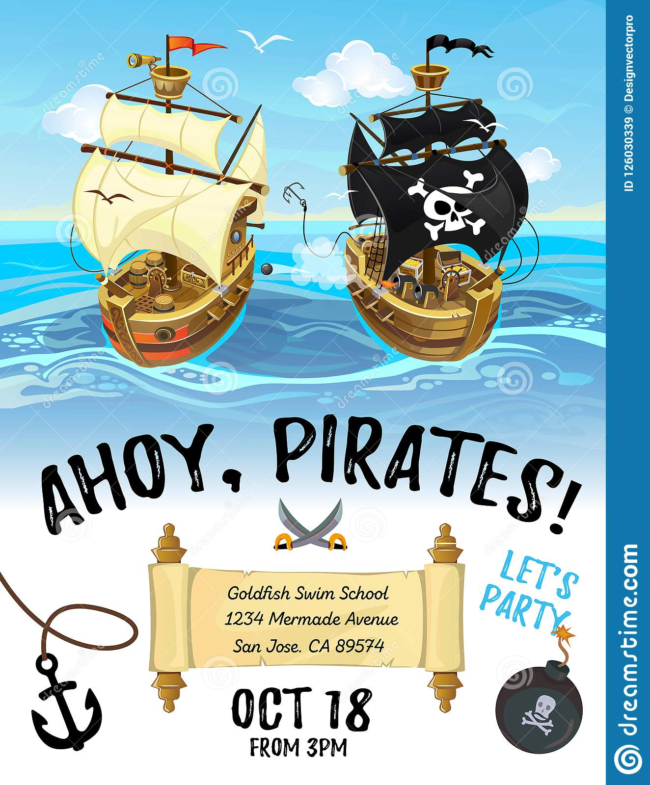 Pirate party cartoon invitation design with pirate ship and sea.