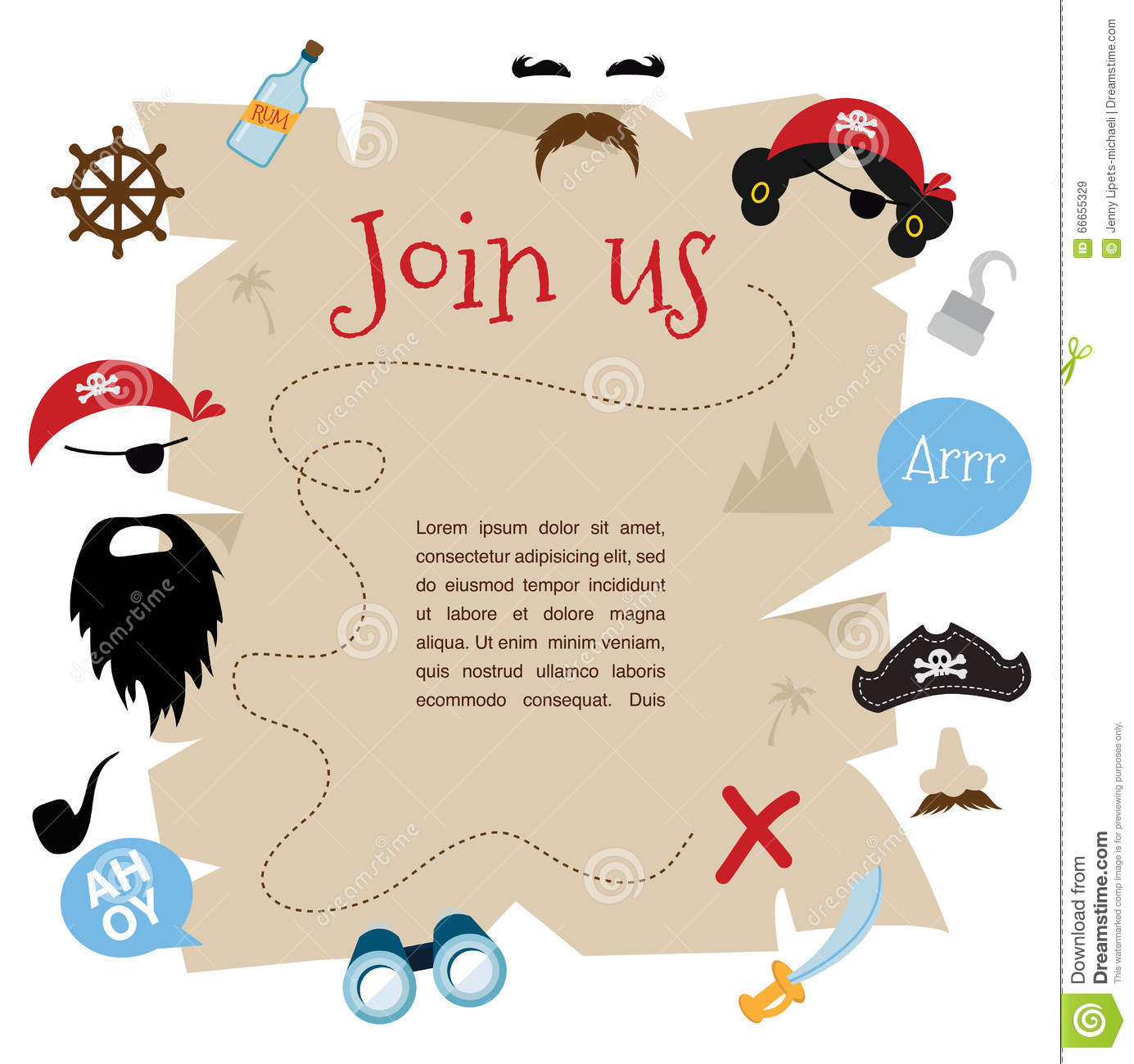 Pirate Party Invitation Card Design Vector Illustration – Party Invitation Card Design