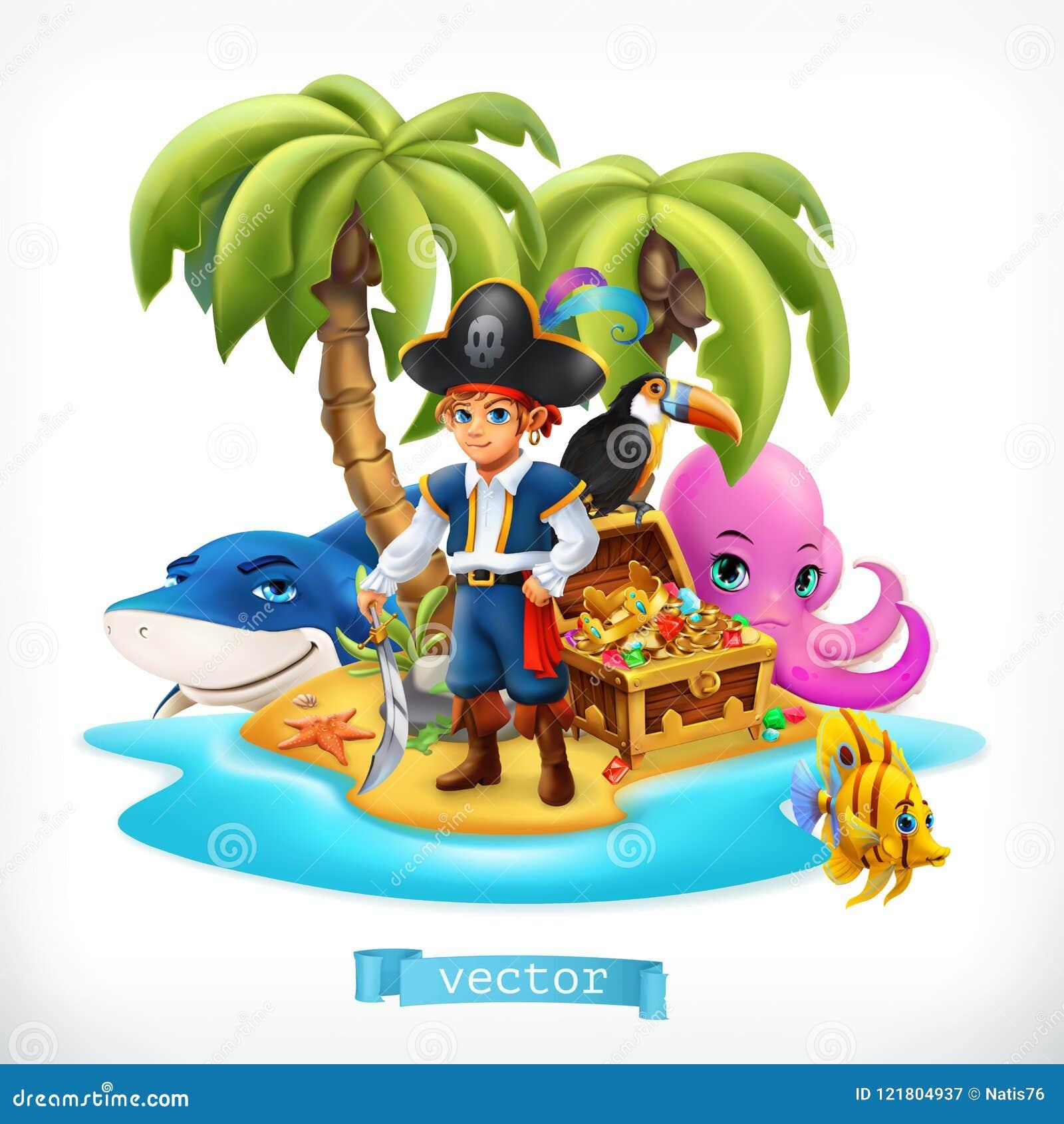 Pirate Petit garçon et animaux drôles Île et coffre au trésor tropicaux, icône de vecteur