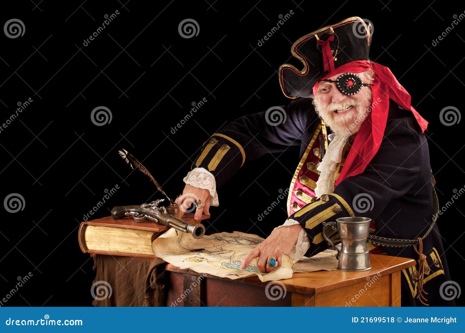 Pirate pointing at his treasure map