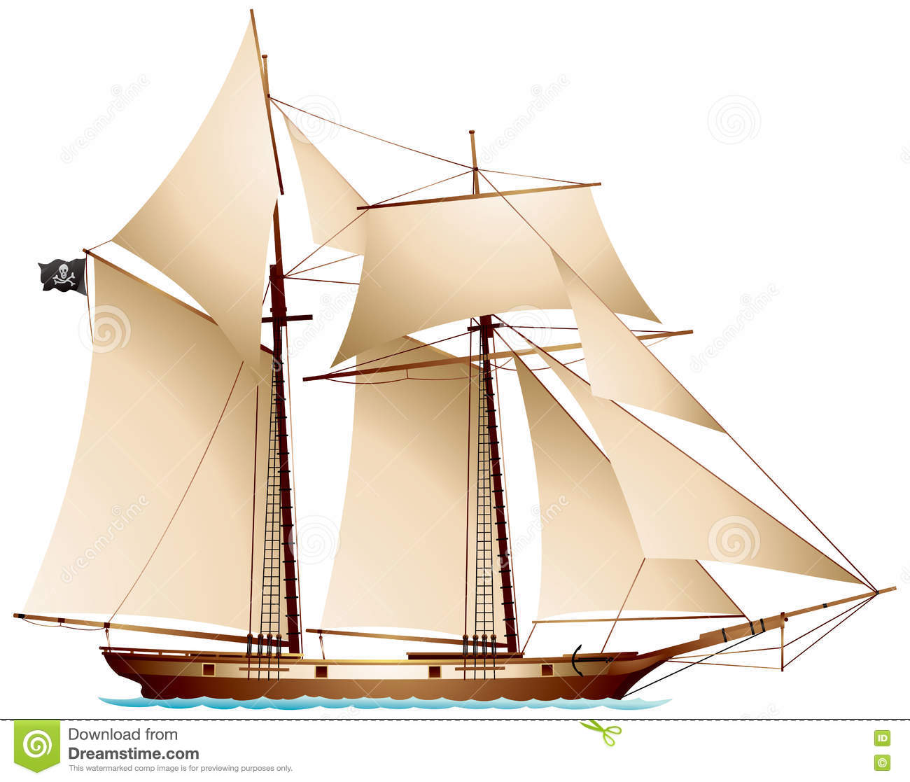 Pirate Schooner stock vector  Illustration of sailboat