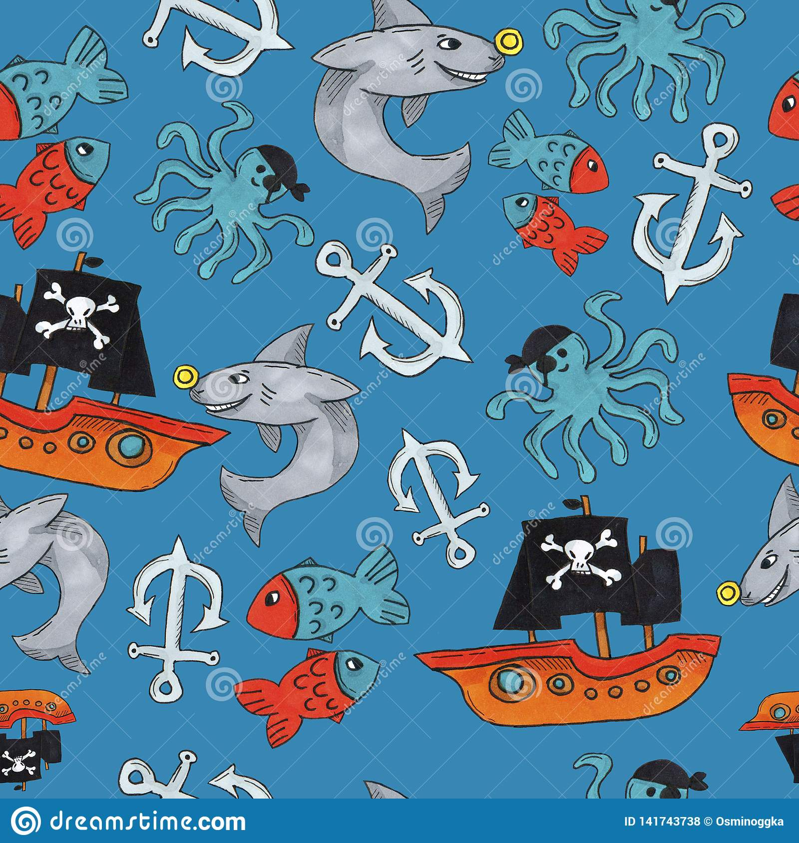 Pirate seamless pattern. colorful objects repeating background for web and print purpose.
