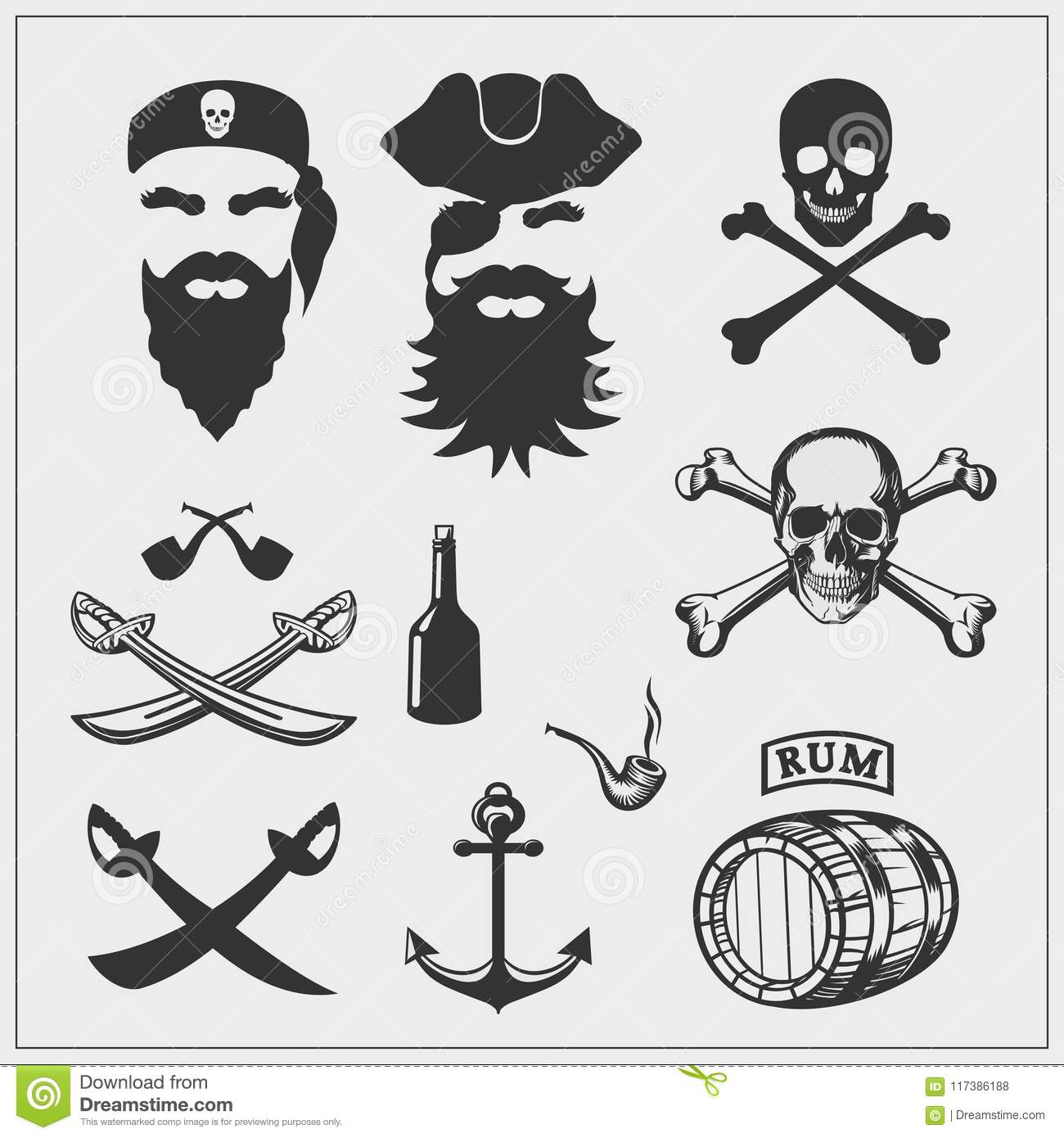 Pirate set. Vector pirate emblems and design elements.