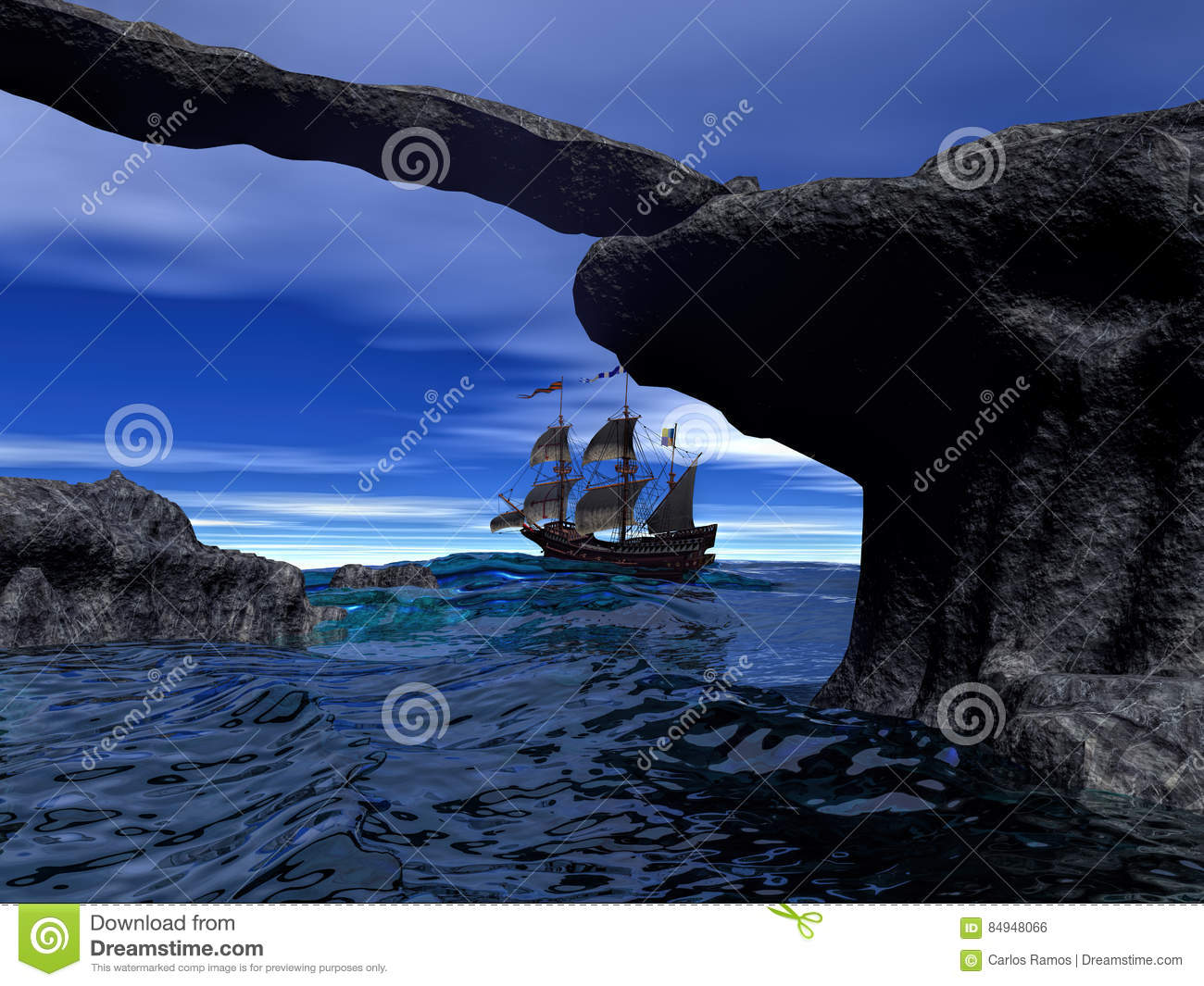 Pirate ship on calm water 3d rendering