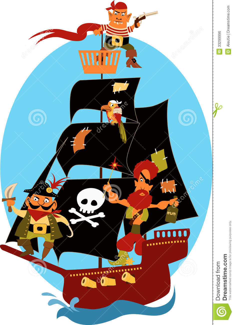Cartoon pirate ship with cute pirates and a parrot, sailing under ...