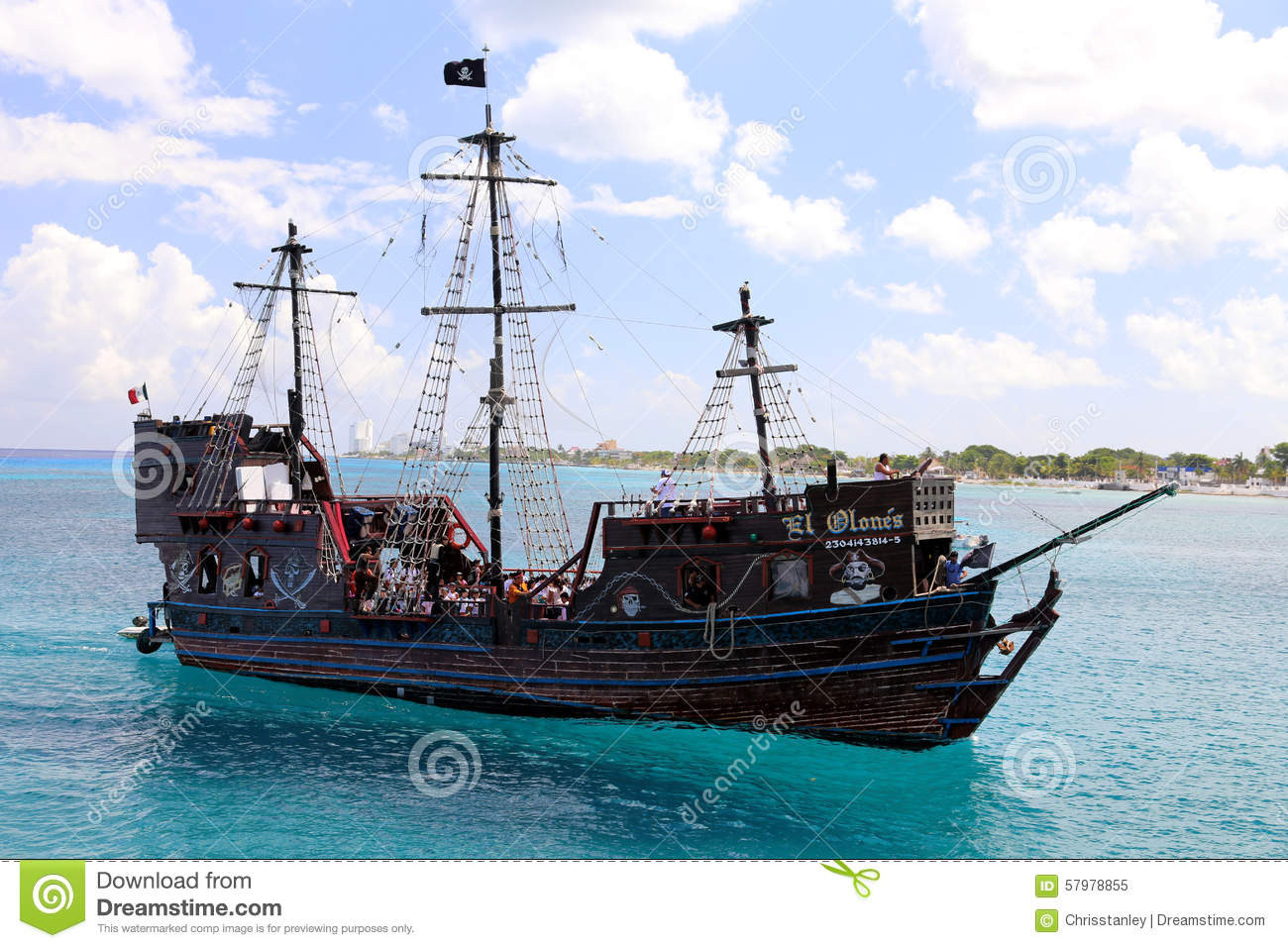 pirate ship in cozumel editorial image  image of central