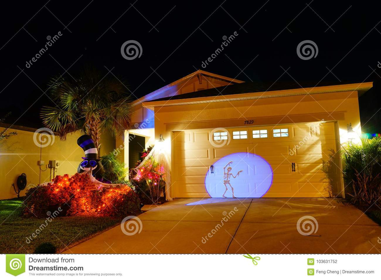 Halloween Decoration In A Home Stock Photo , Image of
