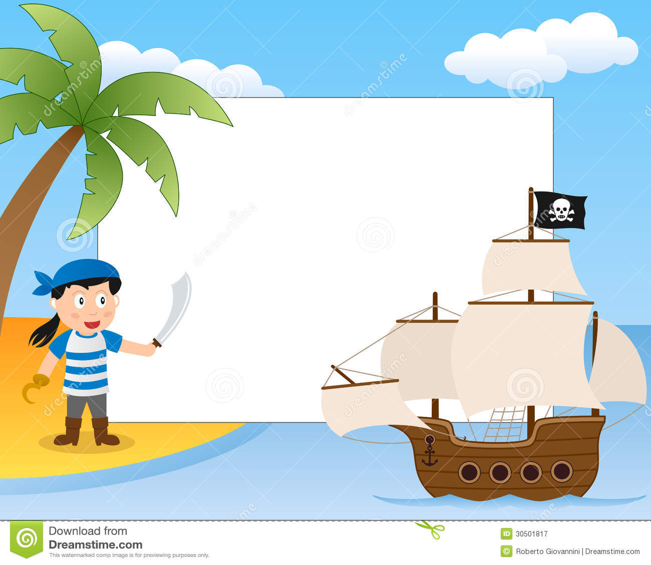 Pirate And Ship Frame Stock Vector Illustration of jolly
