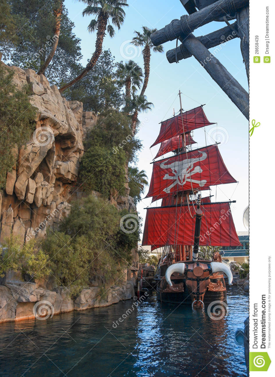 LAS VEGAS, NEVADA - MAY 5, 2009: Pirate ship at pond near Treasure Island  hotel in Las Vegas on May 5, 2009. This Caribbean themed resort has an  hotel with ...