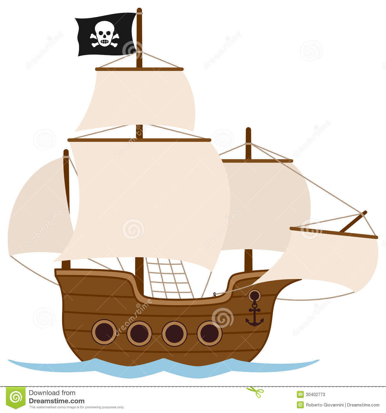 Pirate Ship Or Sailing Boat Stock Photos - Image: 30402773
