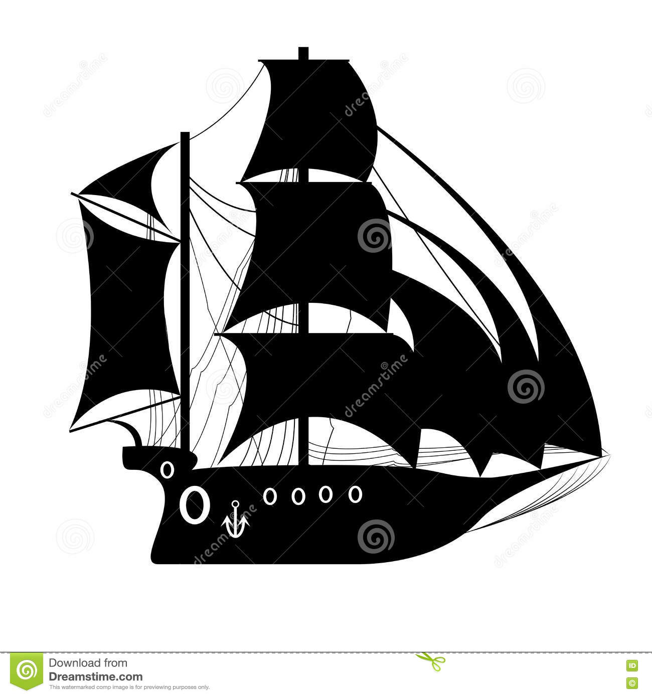 Pirate ship sailing ship under the black flag stock for Pirate ship sails template
