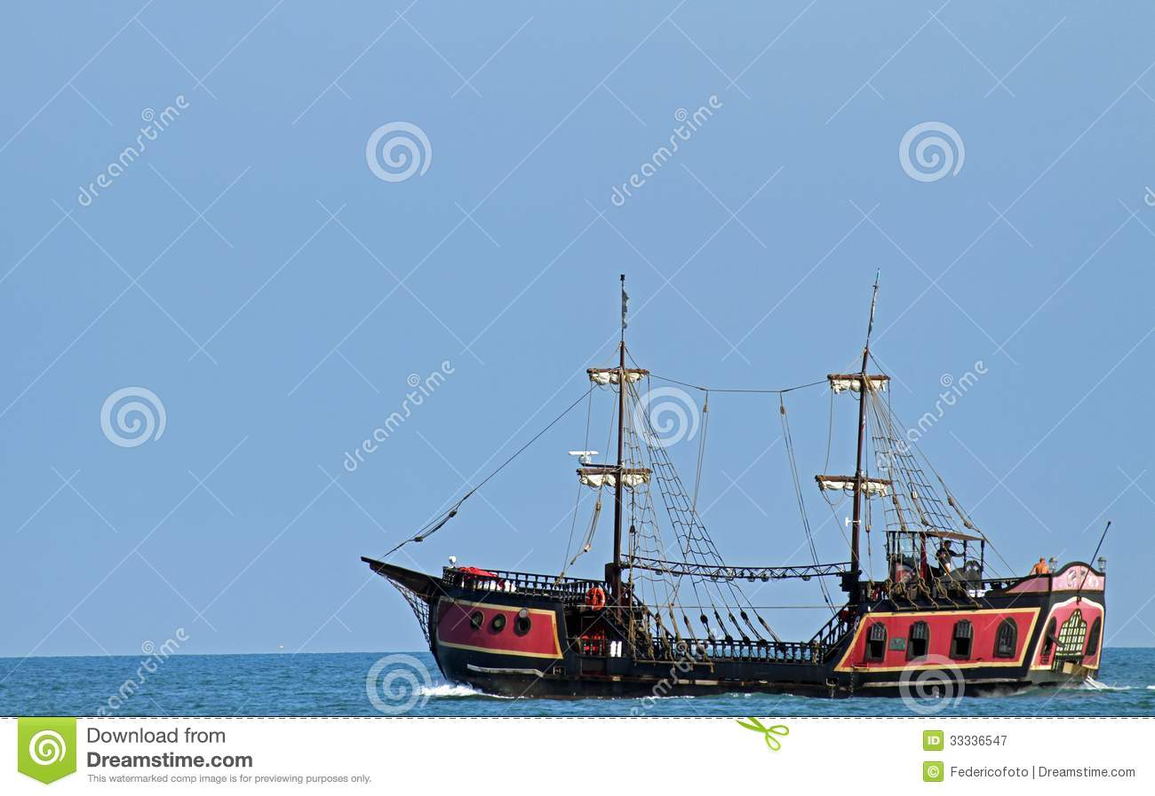 Pirate Ship Sails The Seas In Search Of Board And Plunder