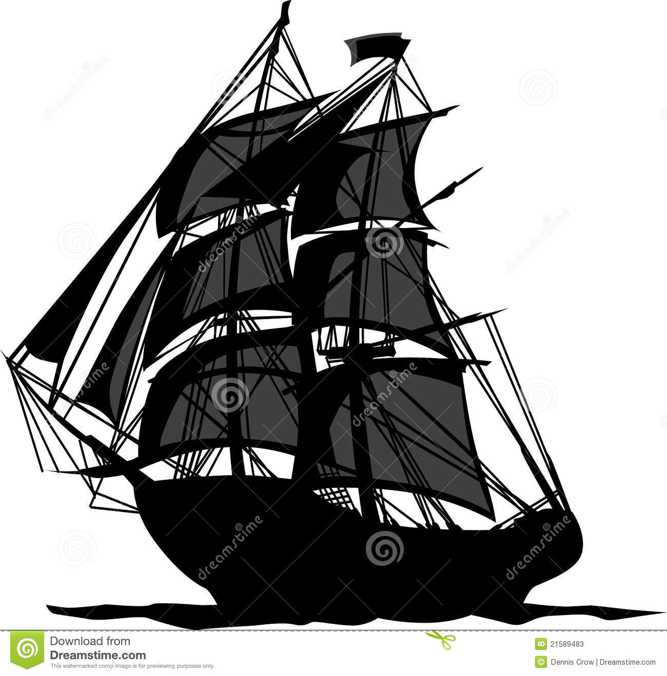 Pirate Ship With Sails Vector Illustration Stock Photos - Image ...