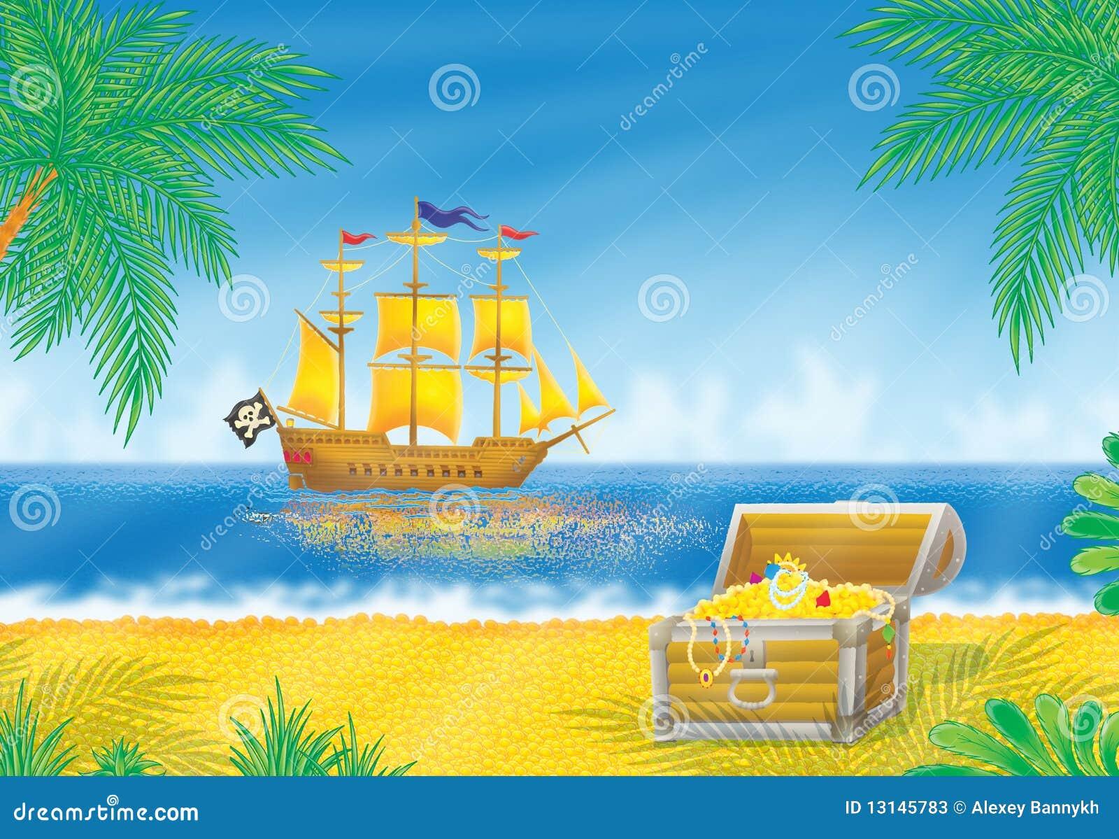 pirate ship and treasure chest stock photos image 13145783 treasure box clip art for valentines Treasure Clip Art