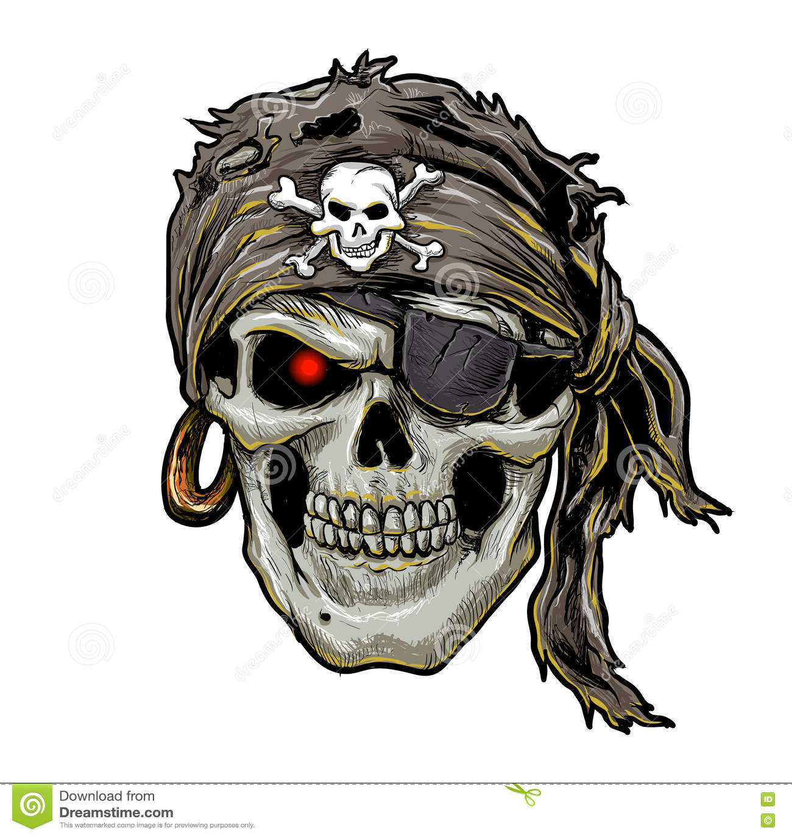 Pirate Skull With Black Bandana Skull Art Stock Vector Illustration Of Bone Bandana 72066858