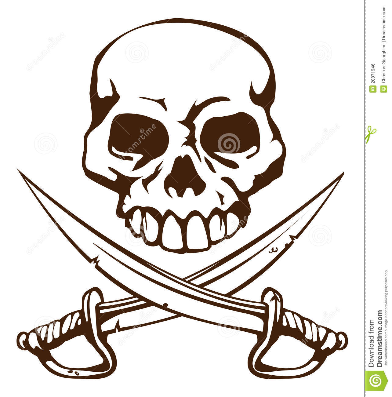 pirate skull and crossed swords symbol royalty free stock image   image 20871946