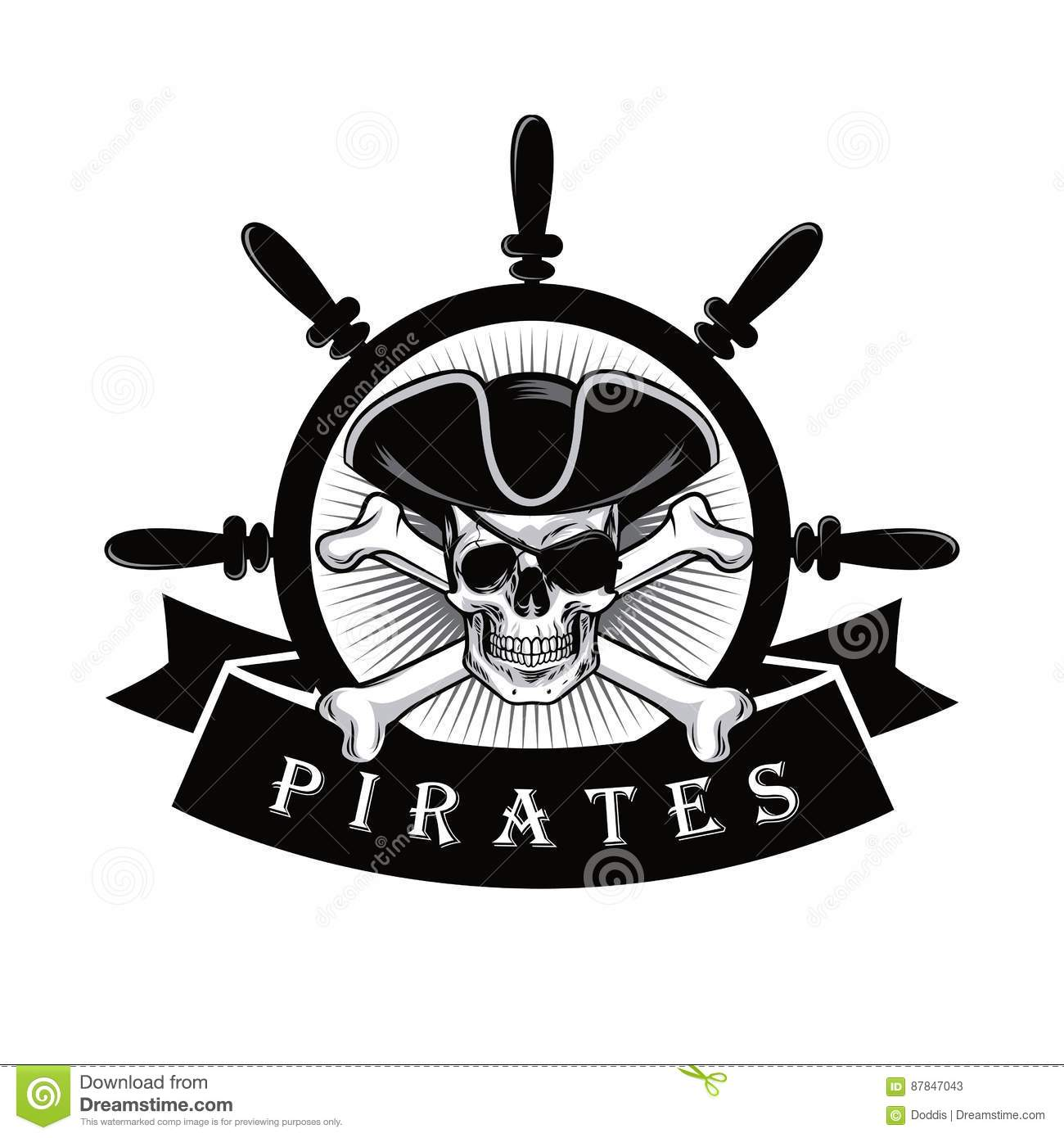 pirate skull with eyepatch and ship helm logo design. Black Bedroom Furniture Sets. Home Design Ideas