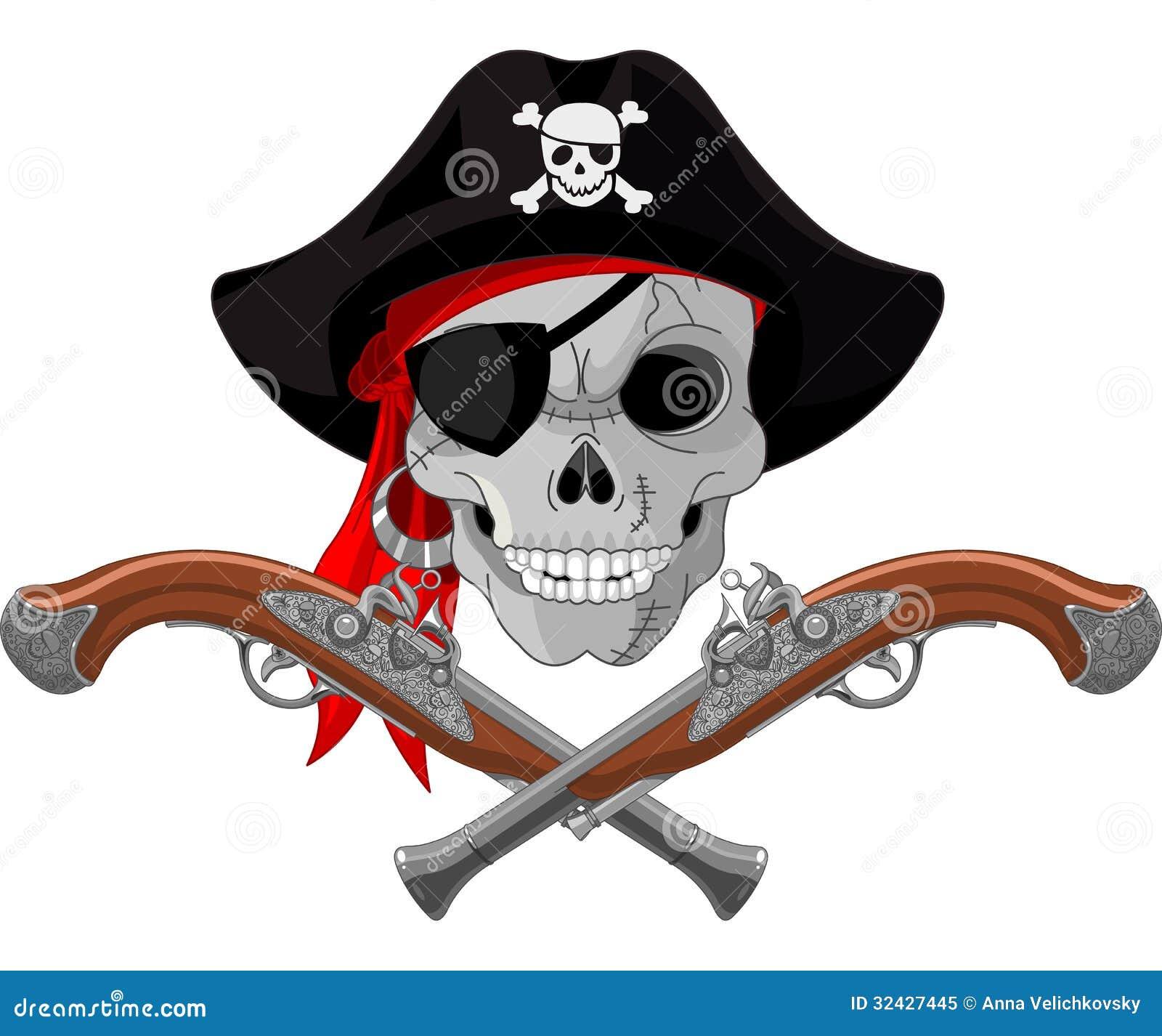 Pirate Skull And Guns Royalty Free Stock Photo - Image: 32427445