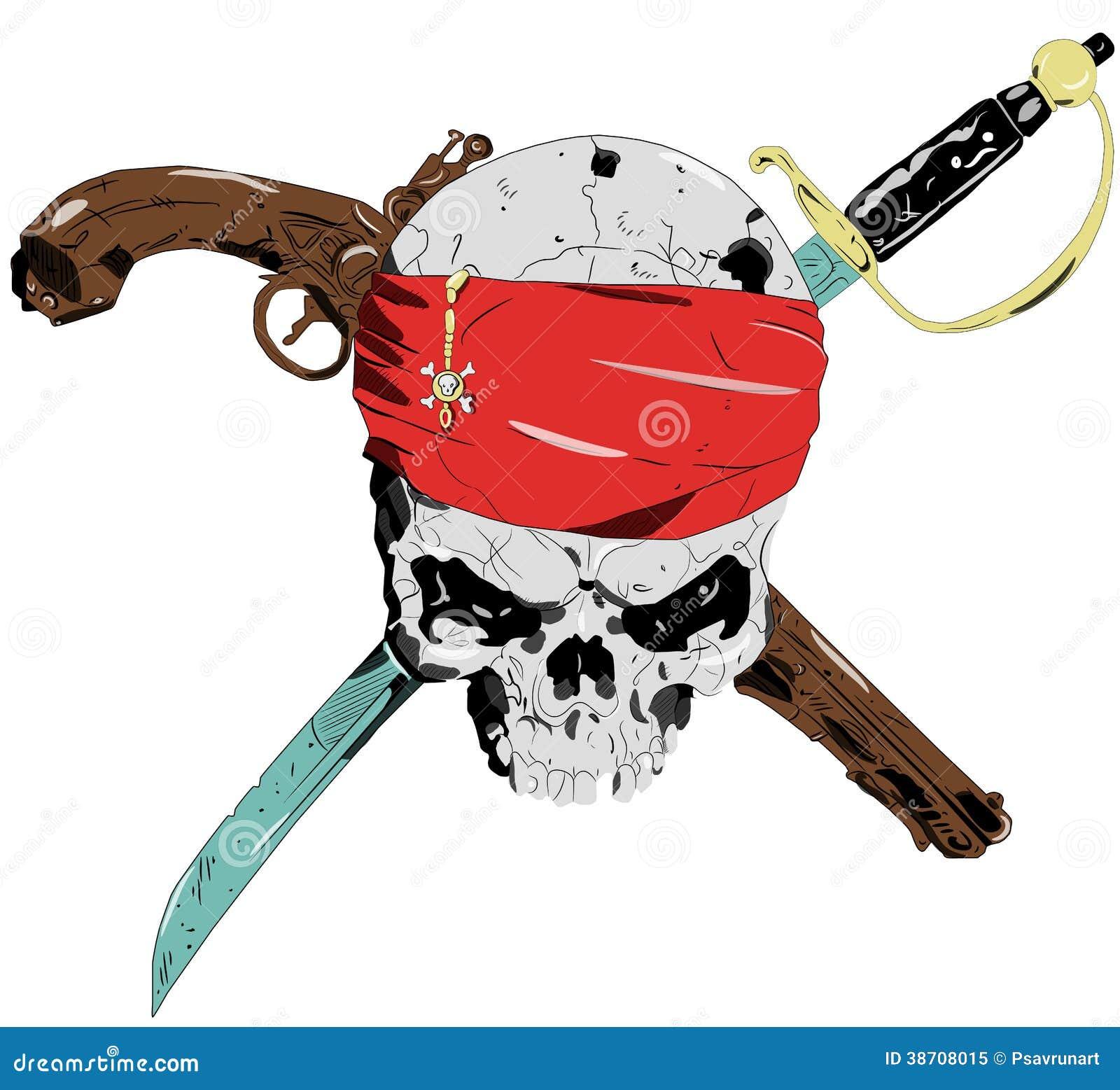 Pirate skull and guns - photo#11