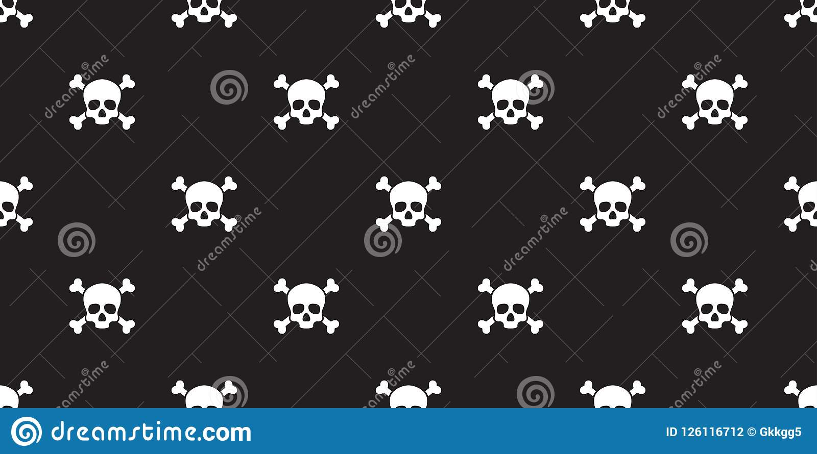 Pirate Skull Seamless Pattern Halloween Cross Bone Wallpaper