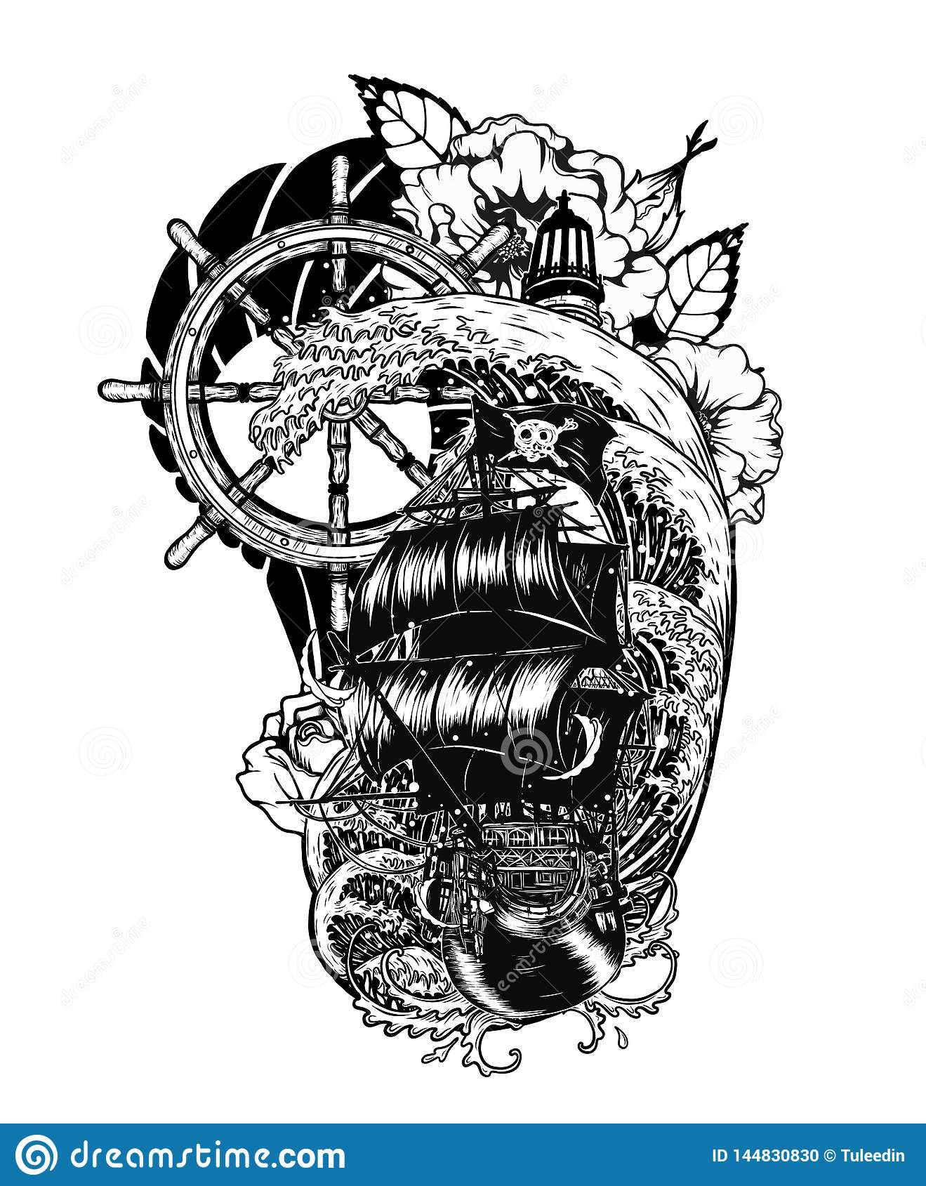 Pirate Skull With Ship Vector Tattoo By Hand Drawing Stock Vector Illustration Of Design Galleon 144830830