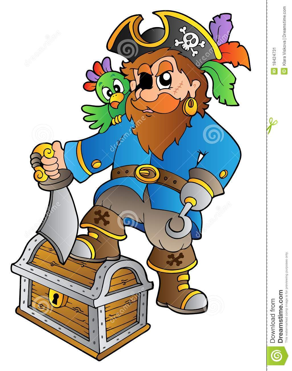 Pirate Standing On Treasure Chest Stock Image - Image: 18424731