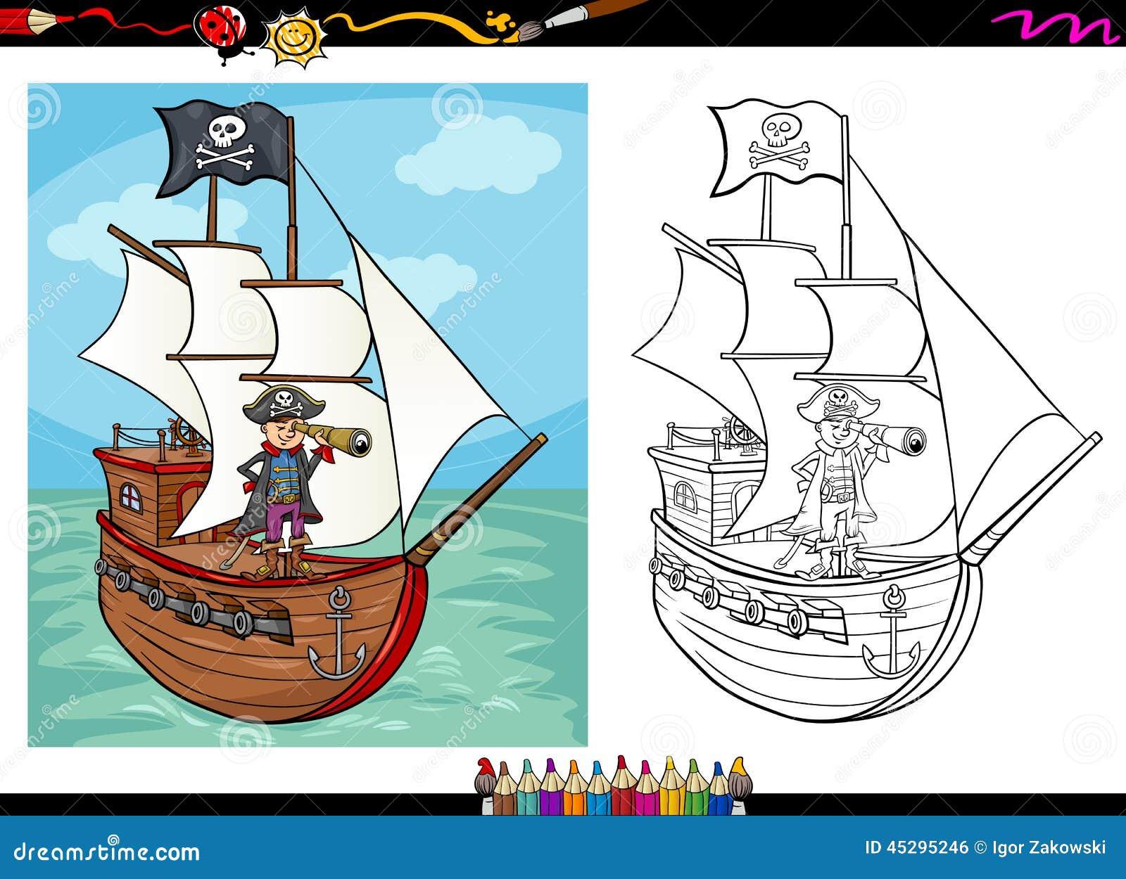 Pirate sur livre de coloriage de bande dessin e de bateau - Coloriage bateau de pirate ...