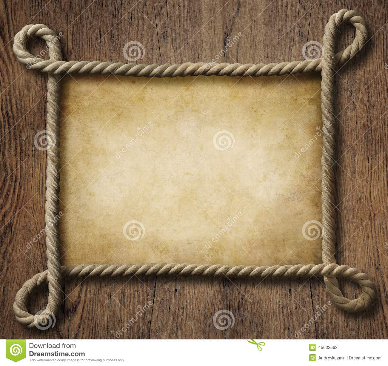 Pirate Theme Nautical Rope Frame With Old Paper Stock