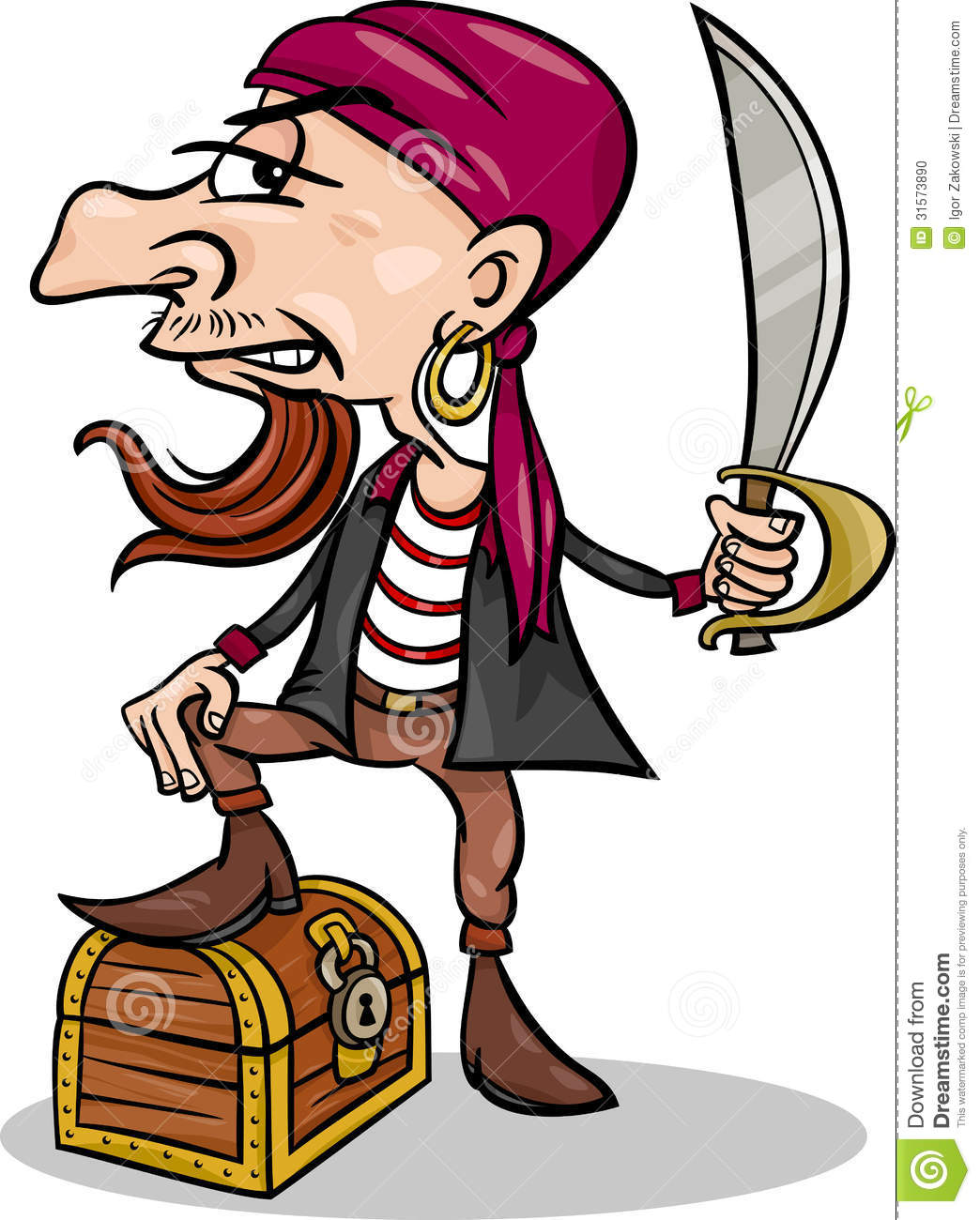 Cartoon Illustration of Funny Pirate or Corsair with Sword and ...