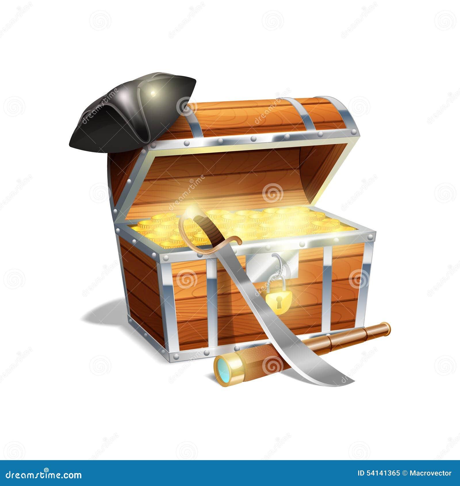Pirate Treasure Chest Illustration Stock Vector - Image: 54141365