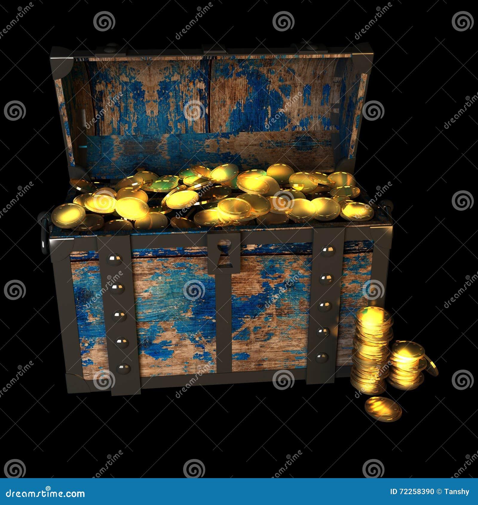 Pirate Treasure Drawing, 3d Illustration Stock ...