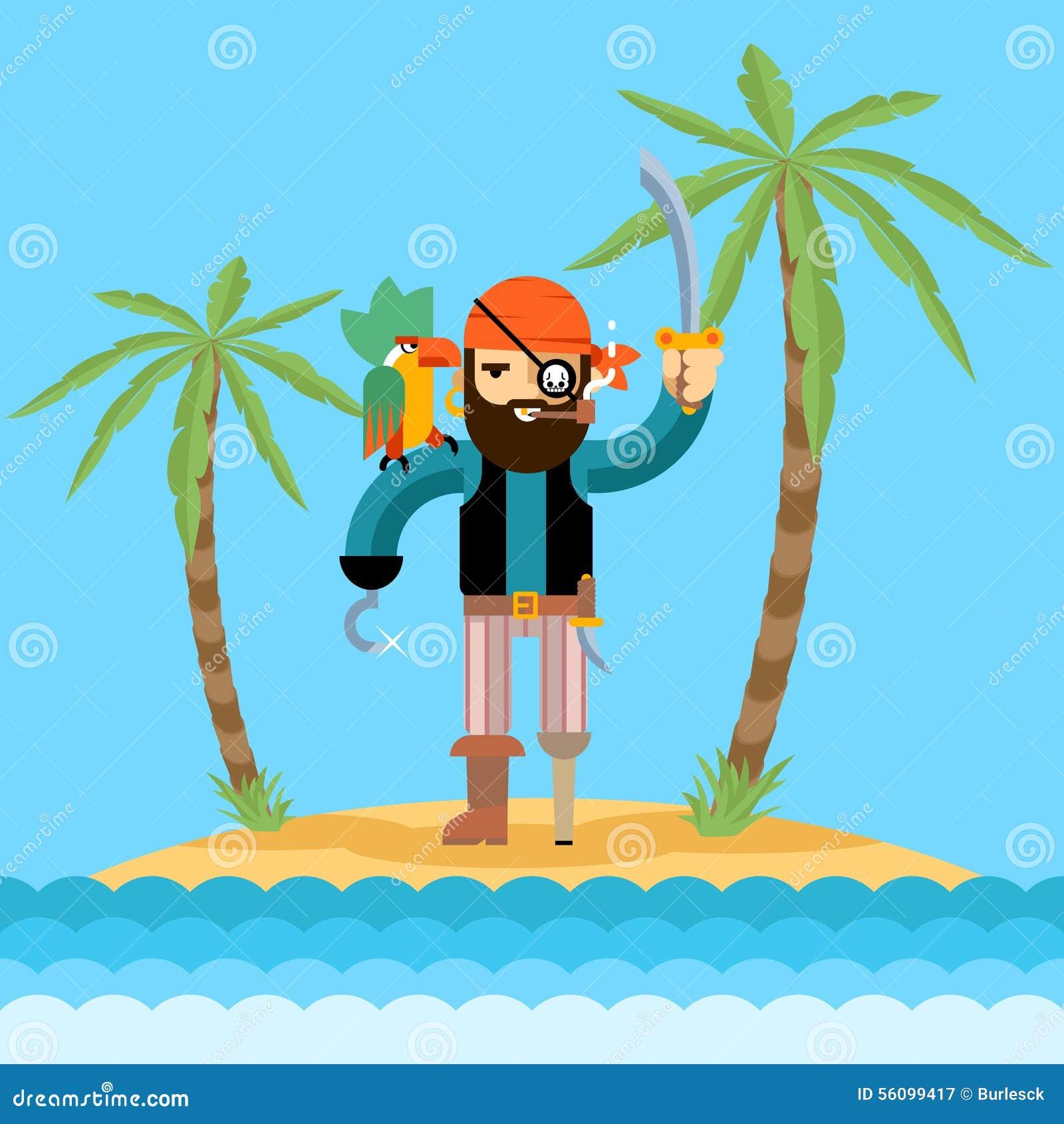 Pirate On Treasure Island Stock Vector. Image Of Design