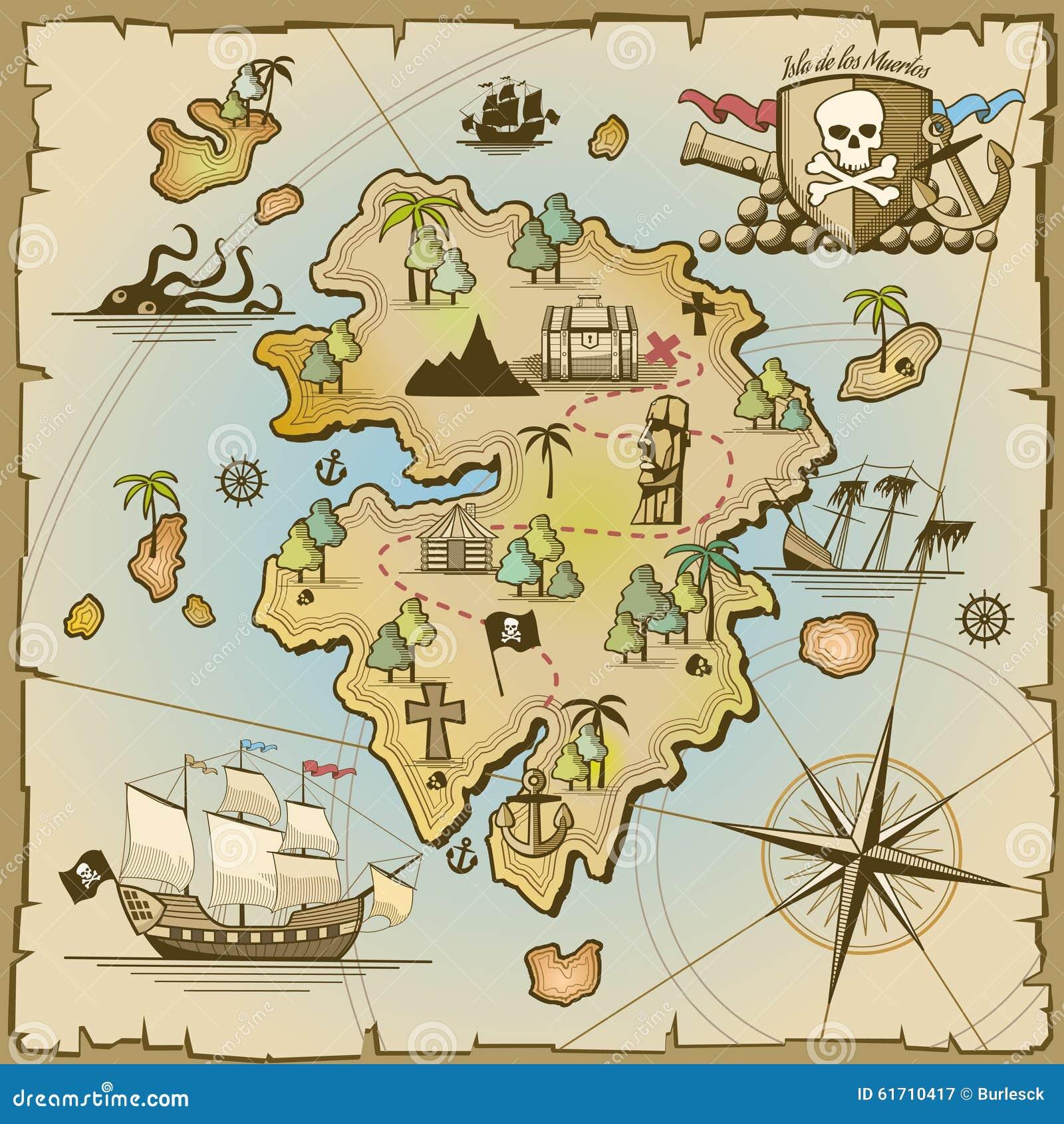Pirate Treasure Island Vector Map Stock Vector