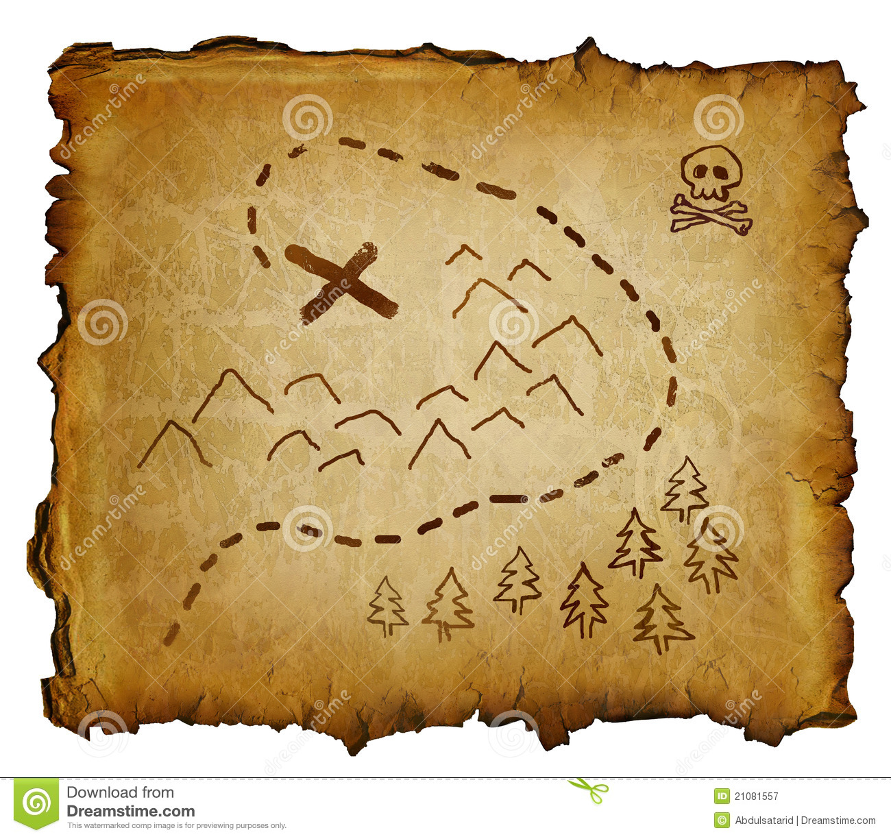 ... with treasure map and skull and crossbones. X marks the spot