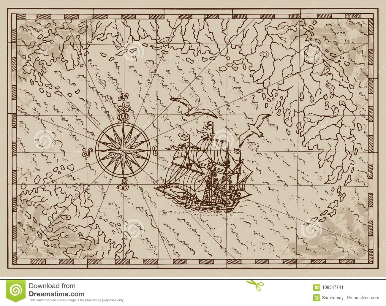 Pirate Treasure Map With Old Ship And Compass In Frame Stock Vector ...