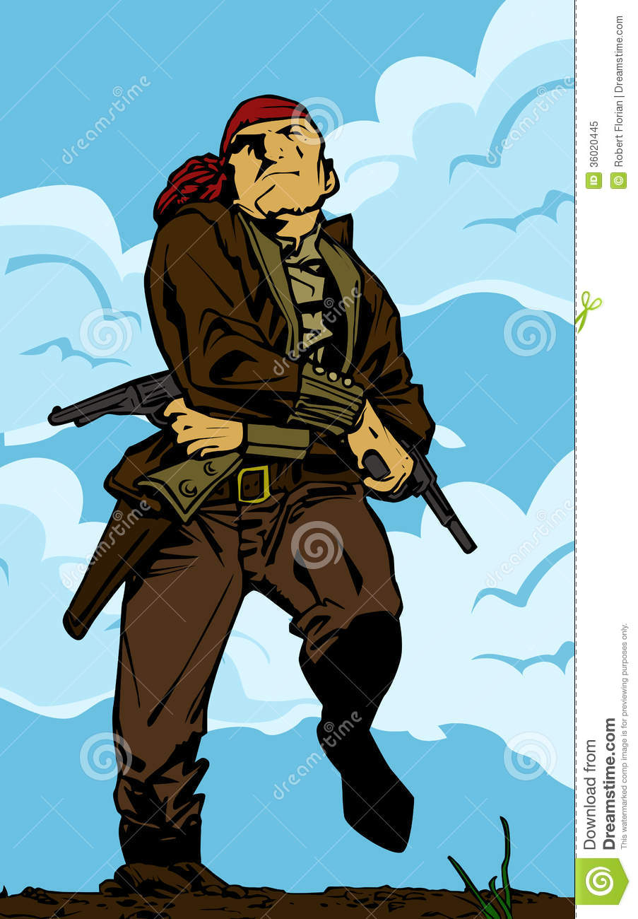 Girl Pirate Blows A Smoke From A Old Pistol Stock Image
