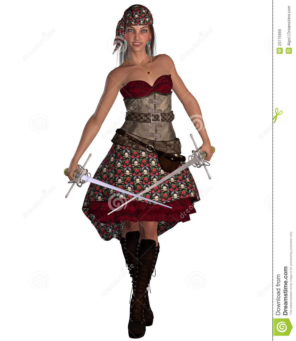 Pirate Woman With Bandana Royalty Free Stock Images
