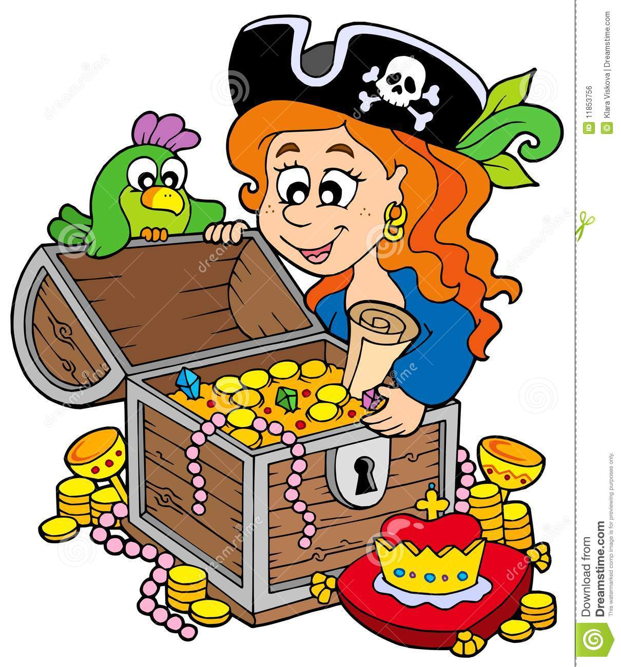 Pirate Woman Opening Treasure Chest Royalty Free Stock