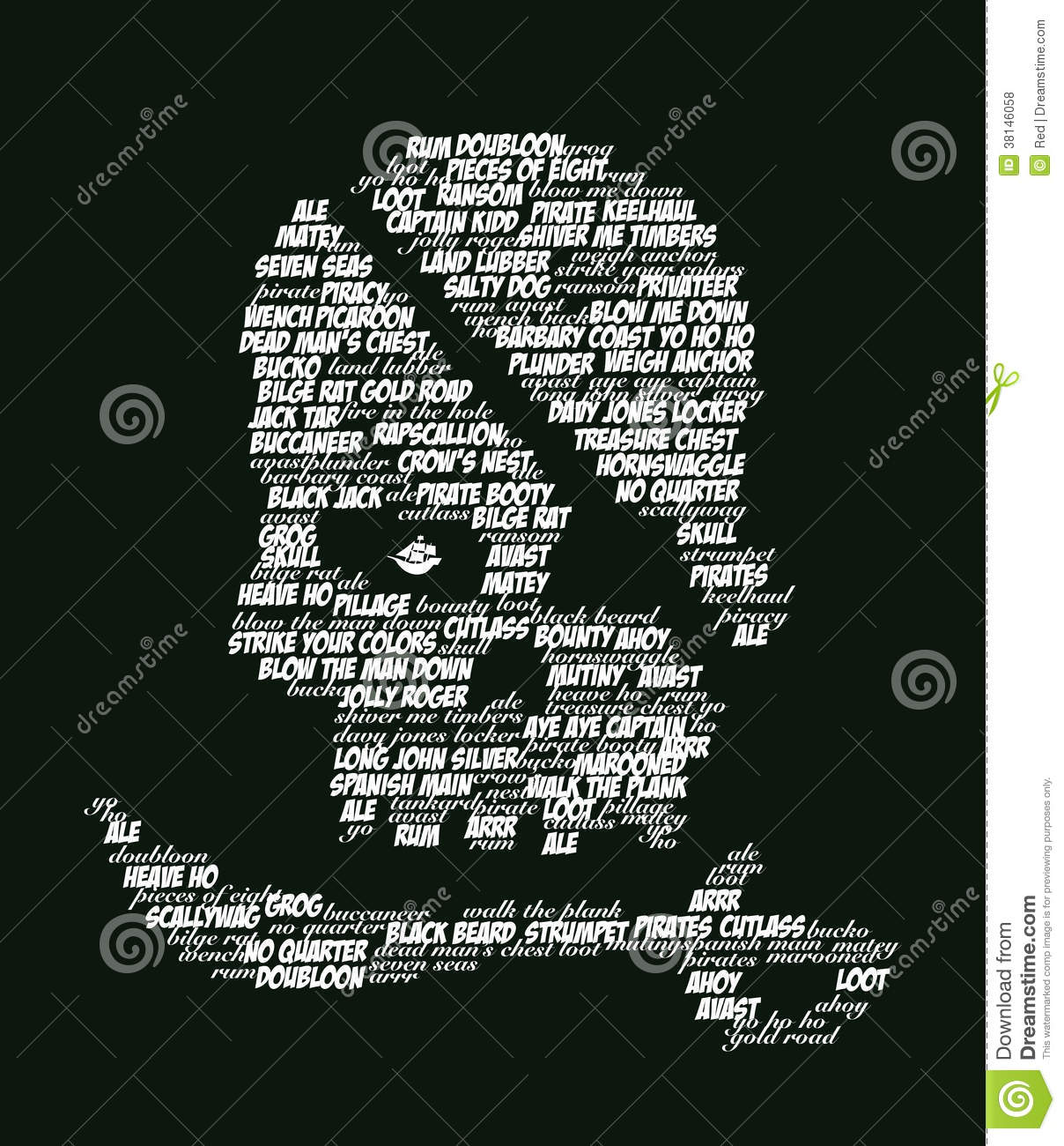 Pirate Words Skull And Cutlass Stock Illustration