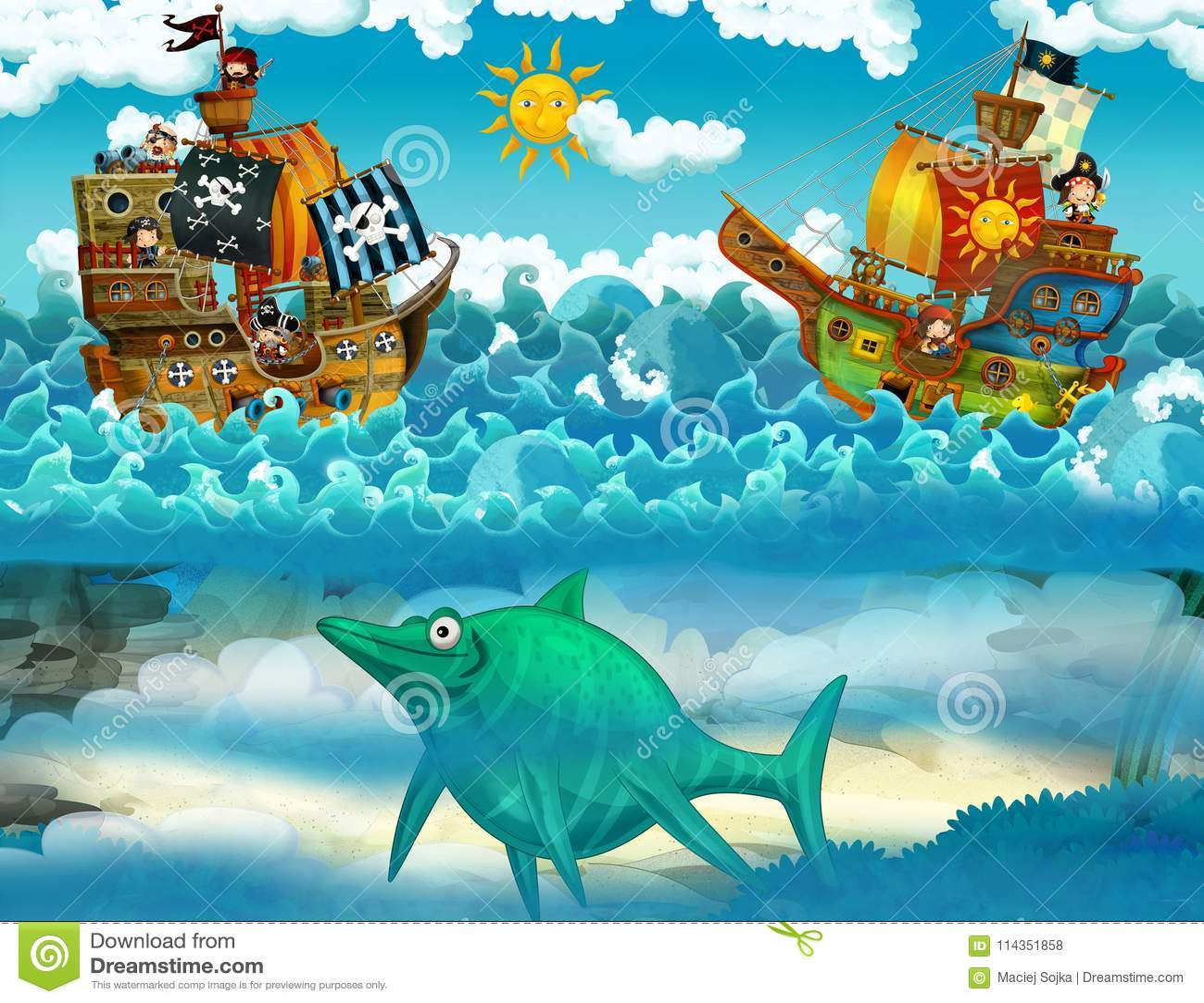 Piraten auf der Seeschlacht - mit dem Monster Unterwasser