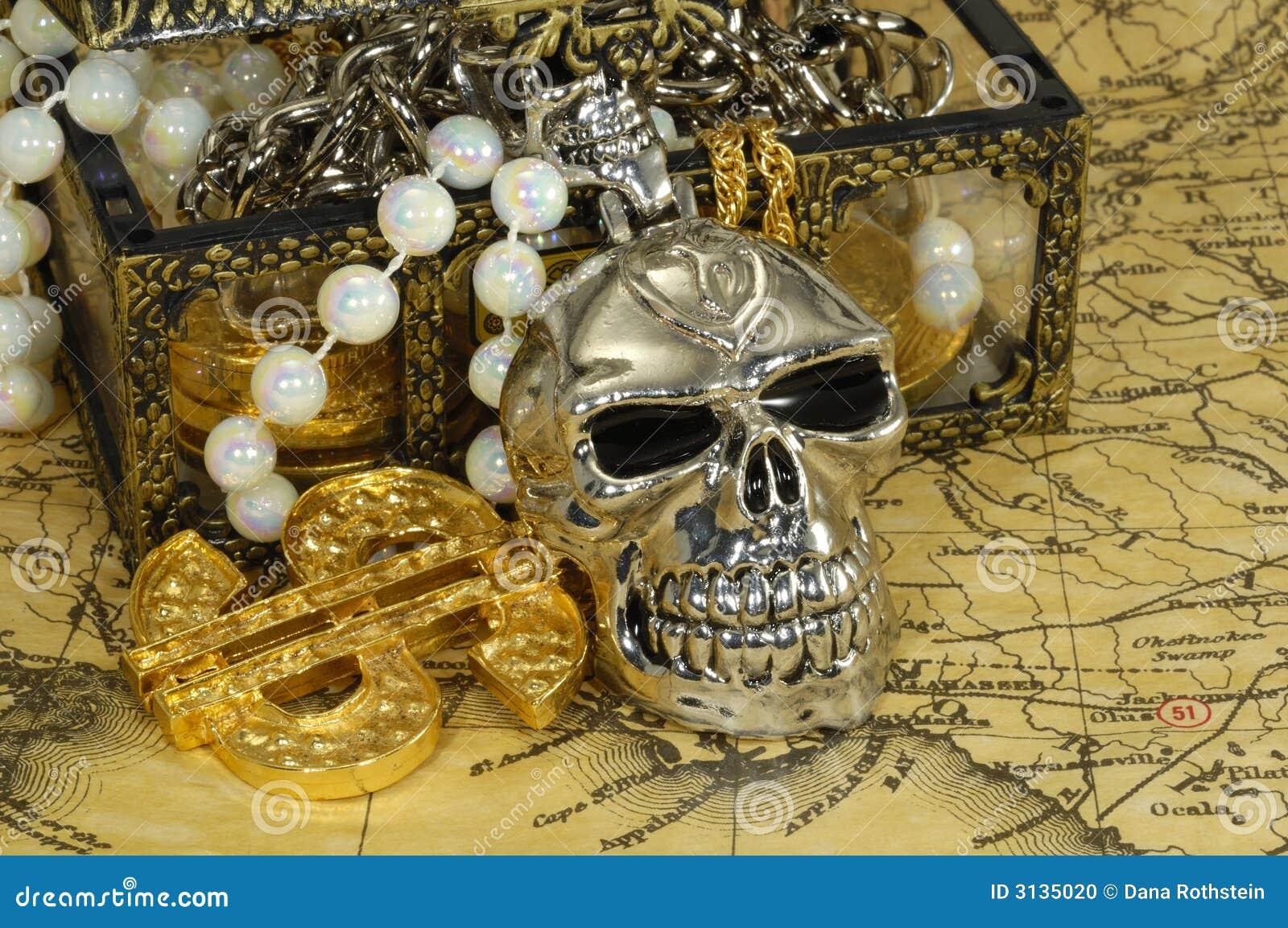 Piraten schatz konzept kasten mit gold und juwelen