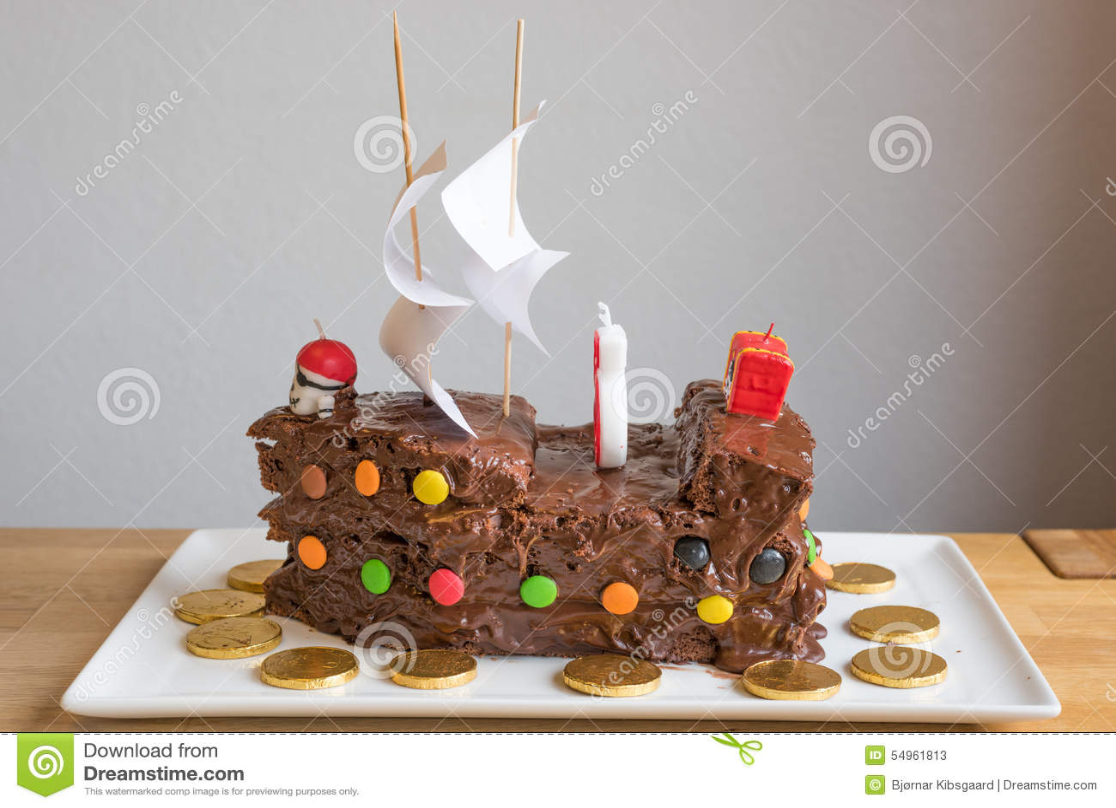 Piraten Schokoladen Kuchen Stockbild Bild Von Geburtstag 54961813