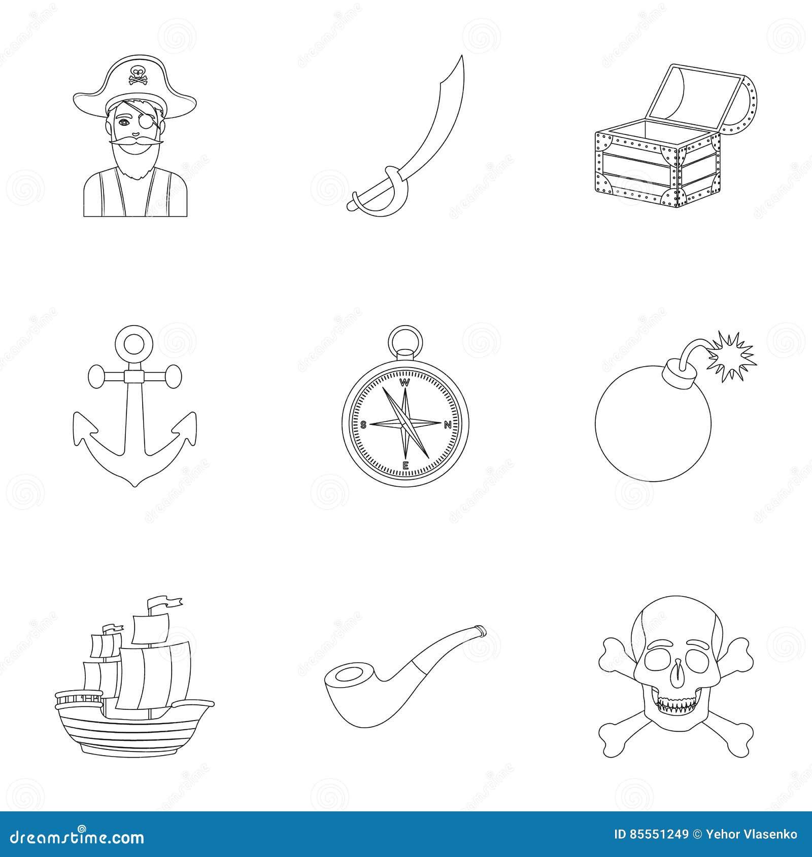 Piraten stellten Ikonen in der Entwurfsart ein Große Sammlung der Piratenillustration
