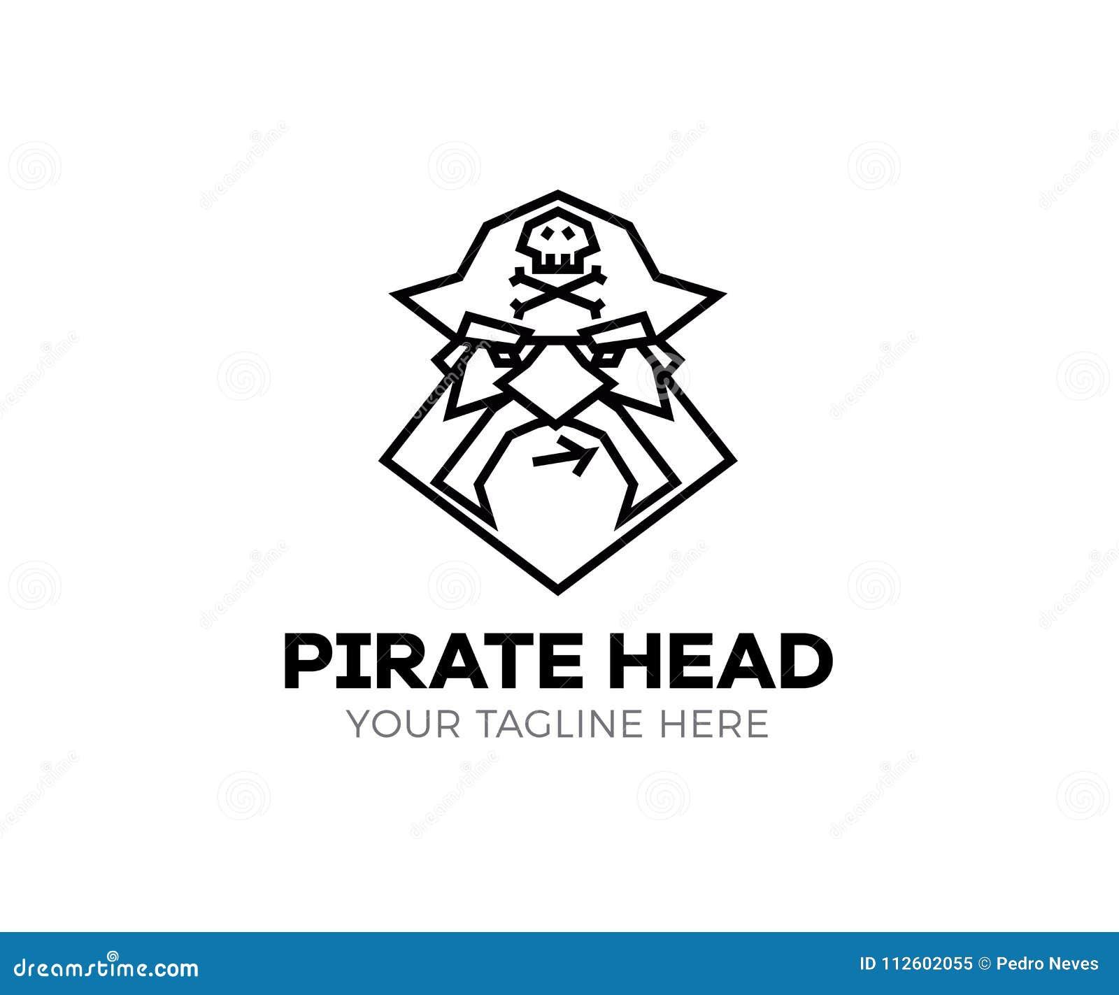 Piratenhauptlogo Dünne Linie Ikone des Vektors von Kapitänpiraten