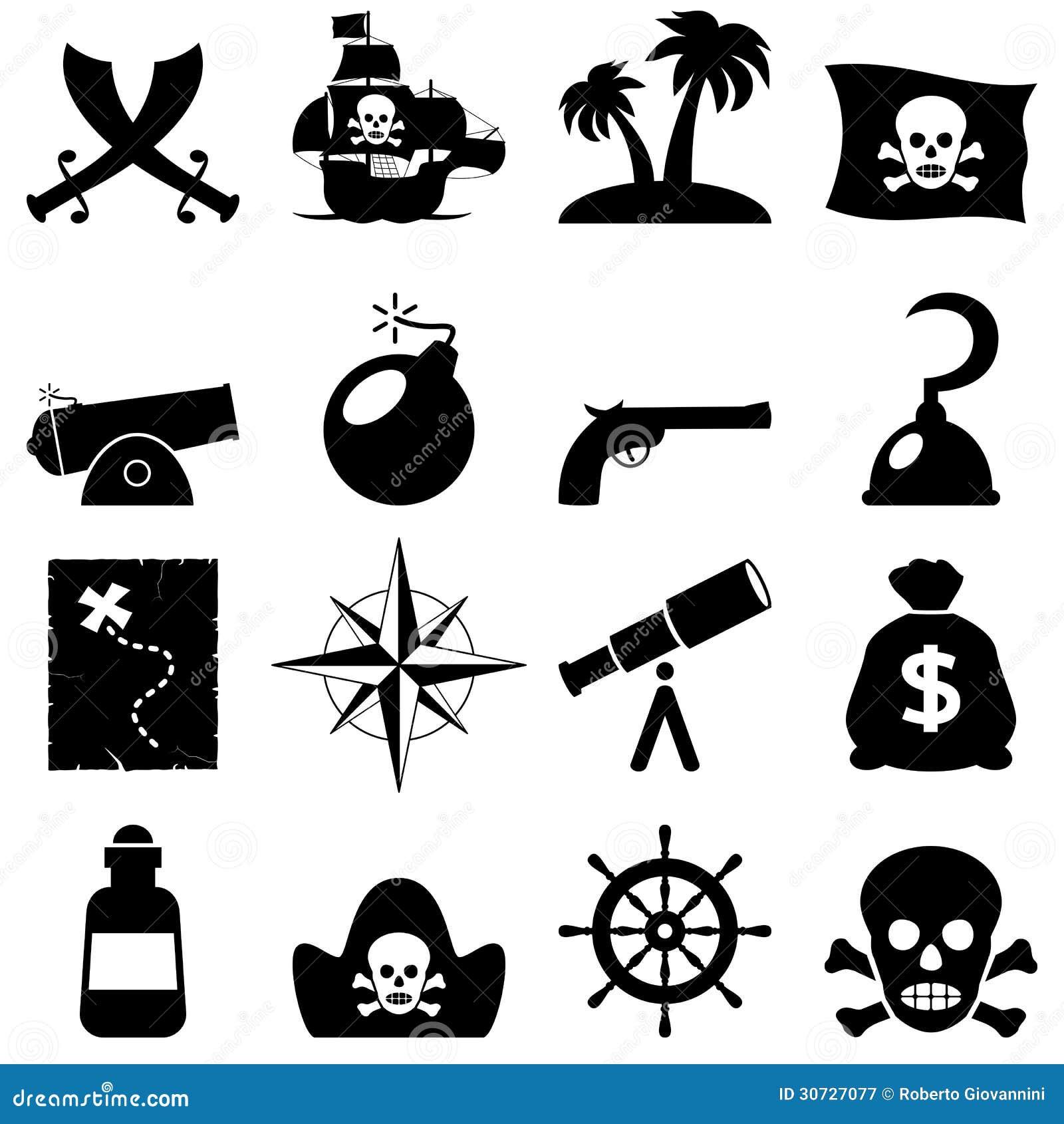Pirates Black And White Icons Illustration 30727077 Megapixl